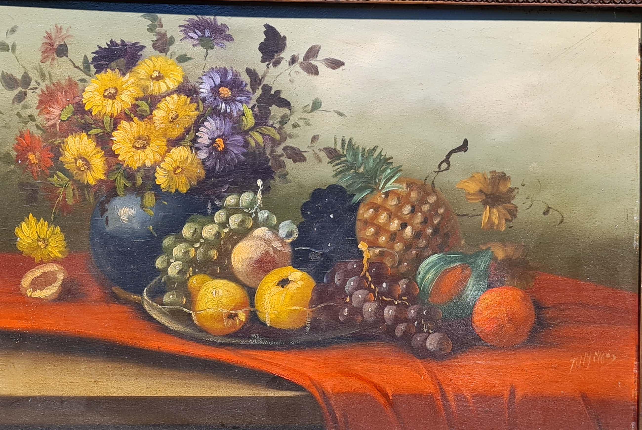 Tilly Moes - Fruit op de schaal met vaas met bloemen kopen? Bied vanaf 100!