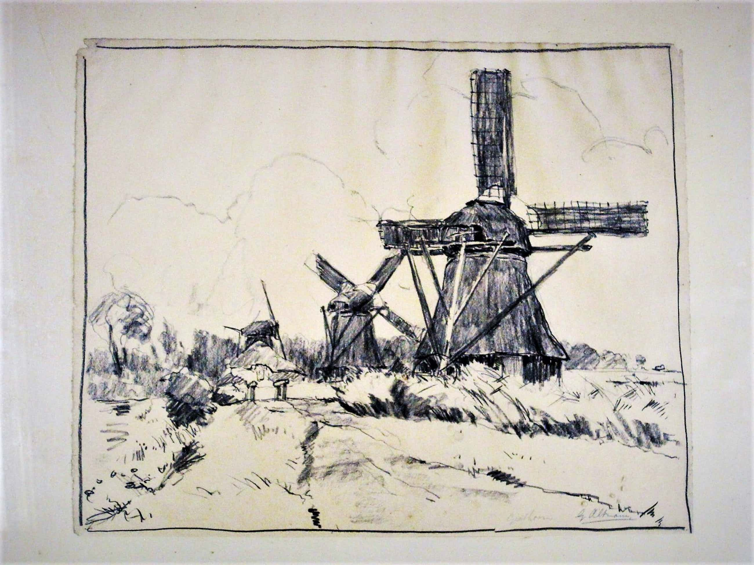 """Gerard Altmann - Rotterdams impressionist - grote Houtskooltekening """"Giethoorn"""" gesigneerd kopen? Bied vanaf 45!"""