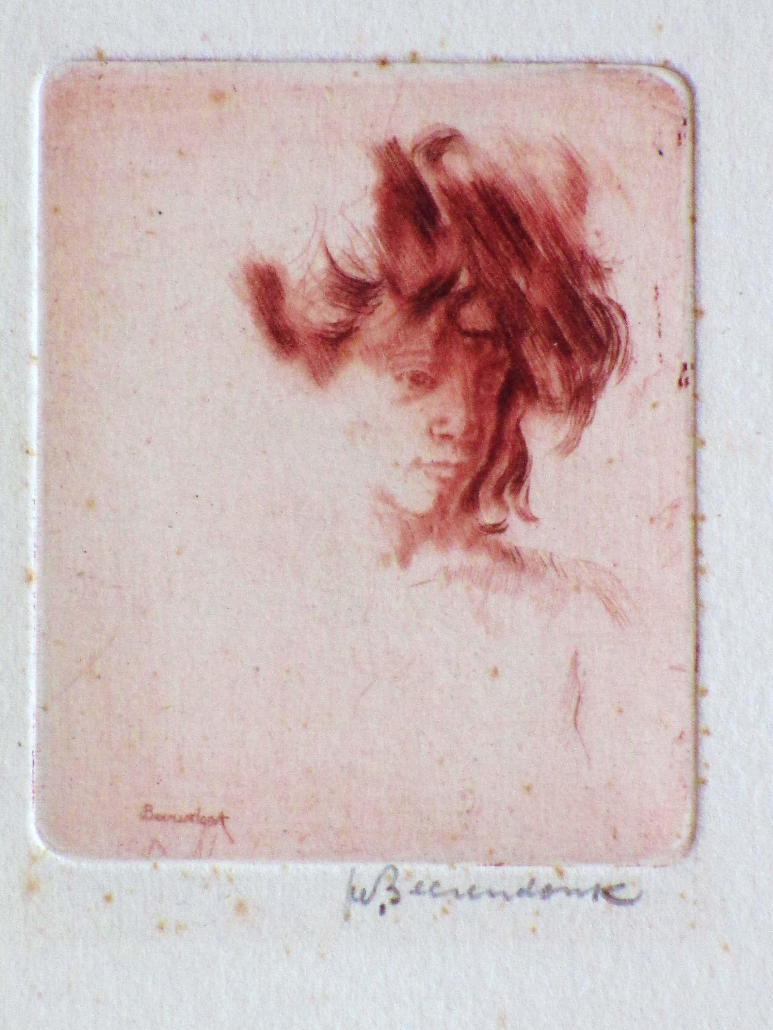 Theo Beerendonk - Vrouwportret - Ets in rood kopen? Bied vanaf 40!