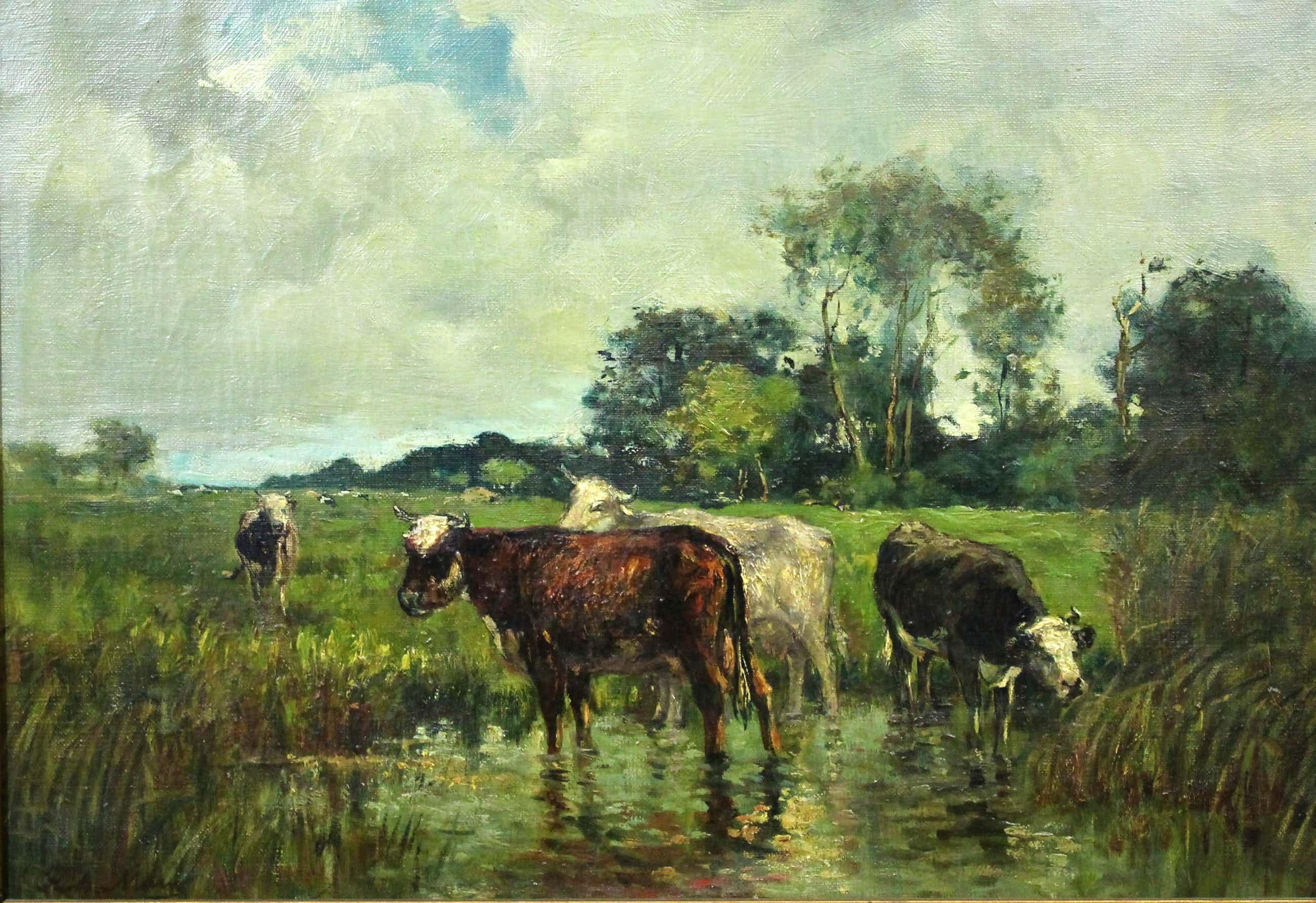 Frits Maris - olieverf op doek - landschap met koeien kopen? Bied vanaf 850!