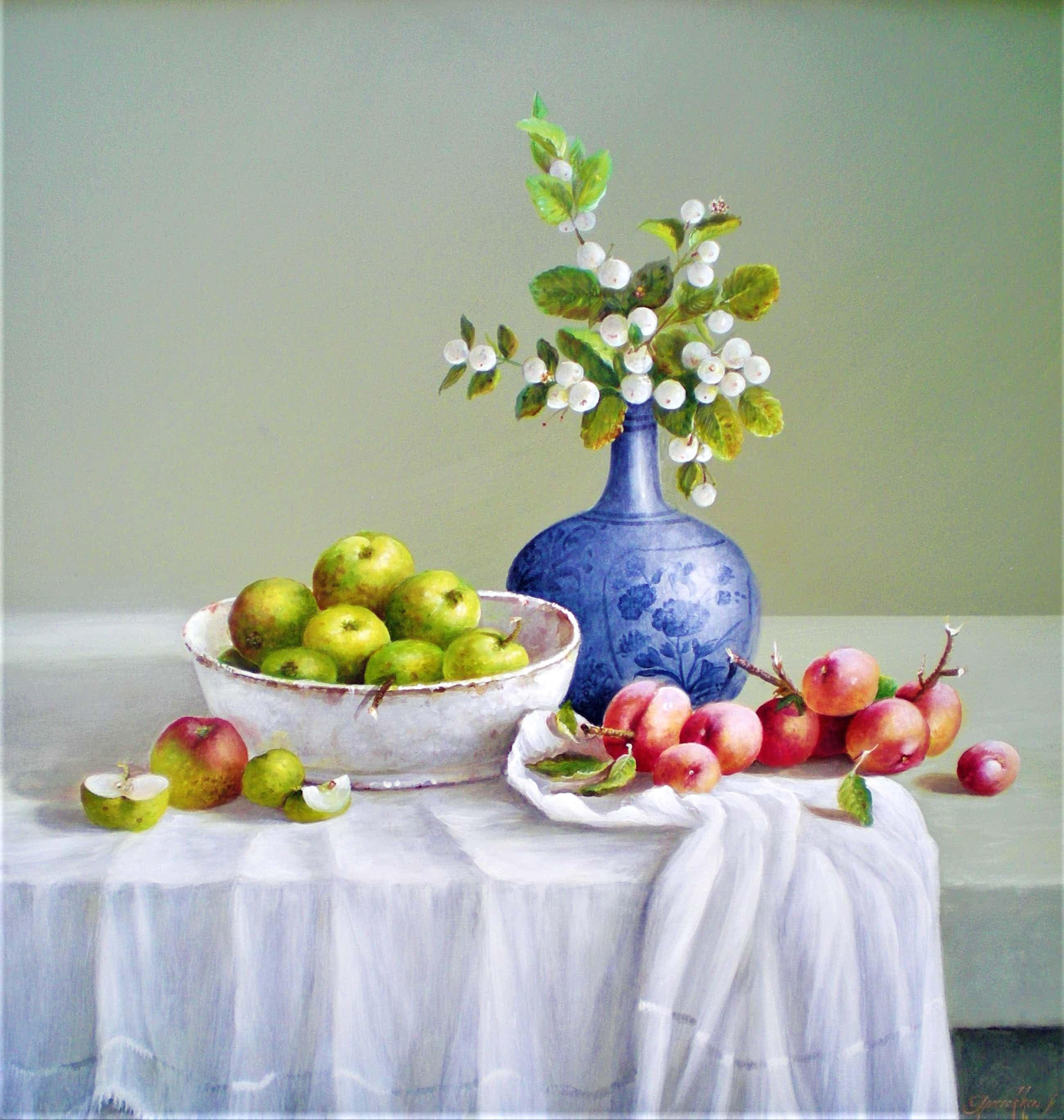 Thomas Heesakkers - Stilleven met fruit en witte besjes kopen? Bied vanaf 495!