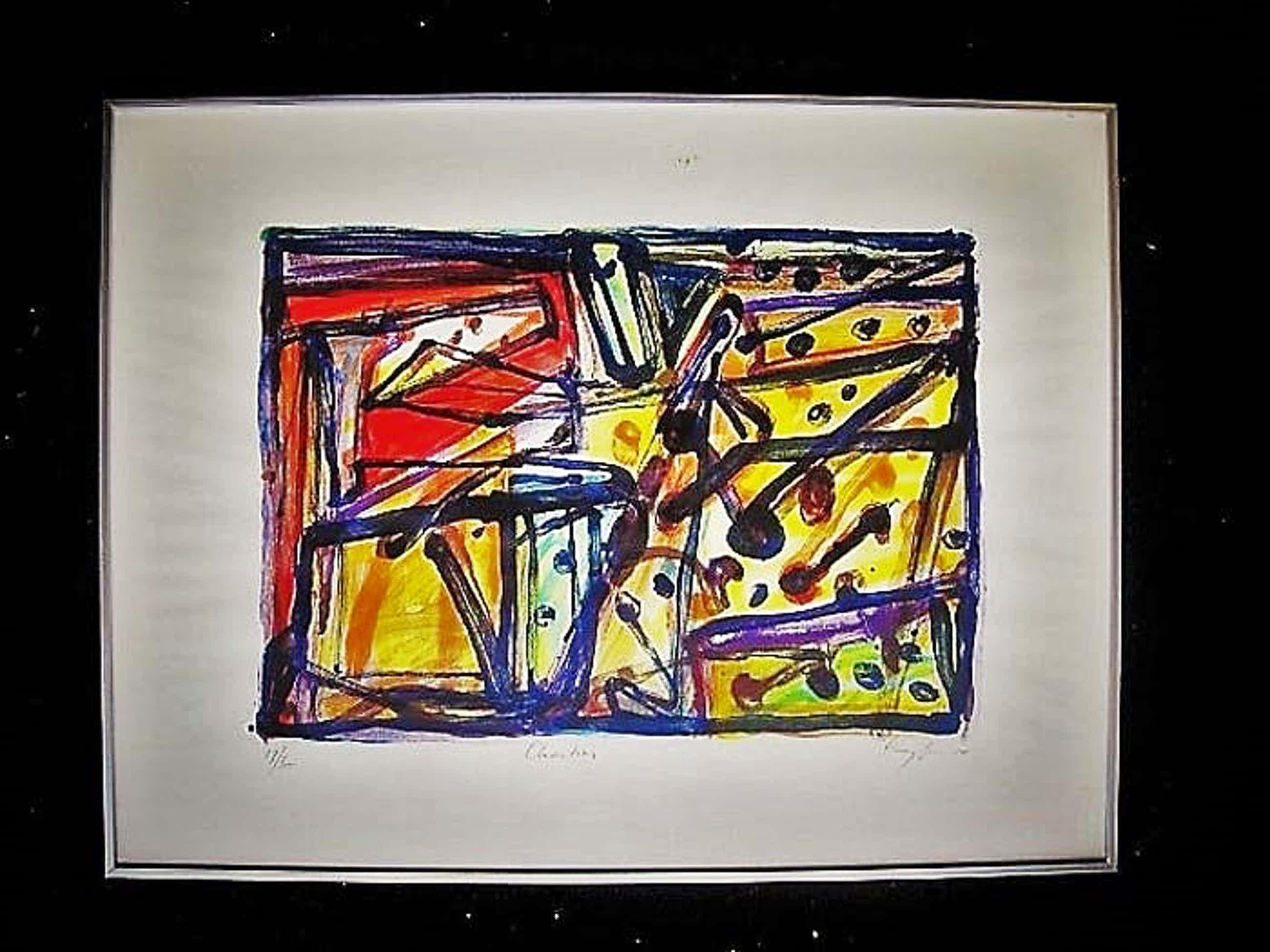 """Theo Kuijpers - Lyrisch Abstracte compositie """"Chartres"""" Litho - oplage slechts 65ex. GROOT! kopen? Bied vanaf 20!"""