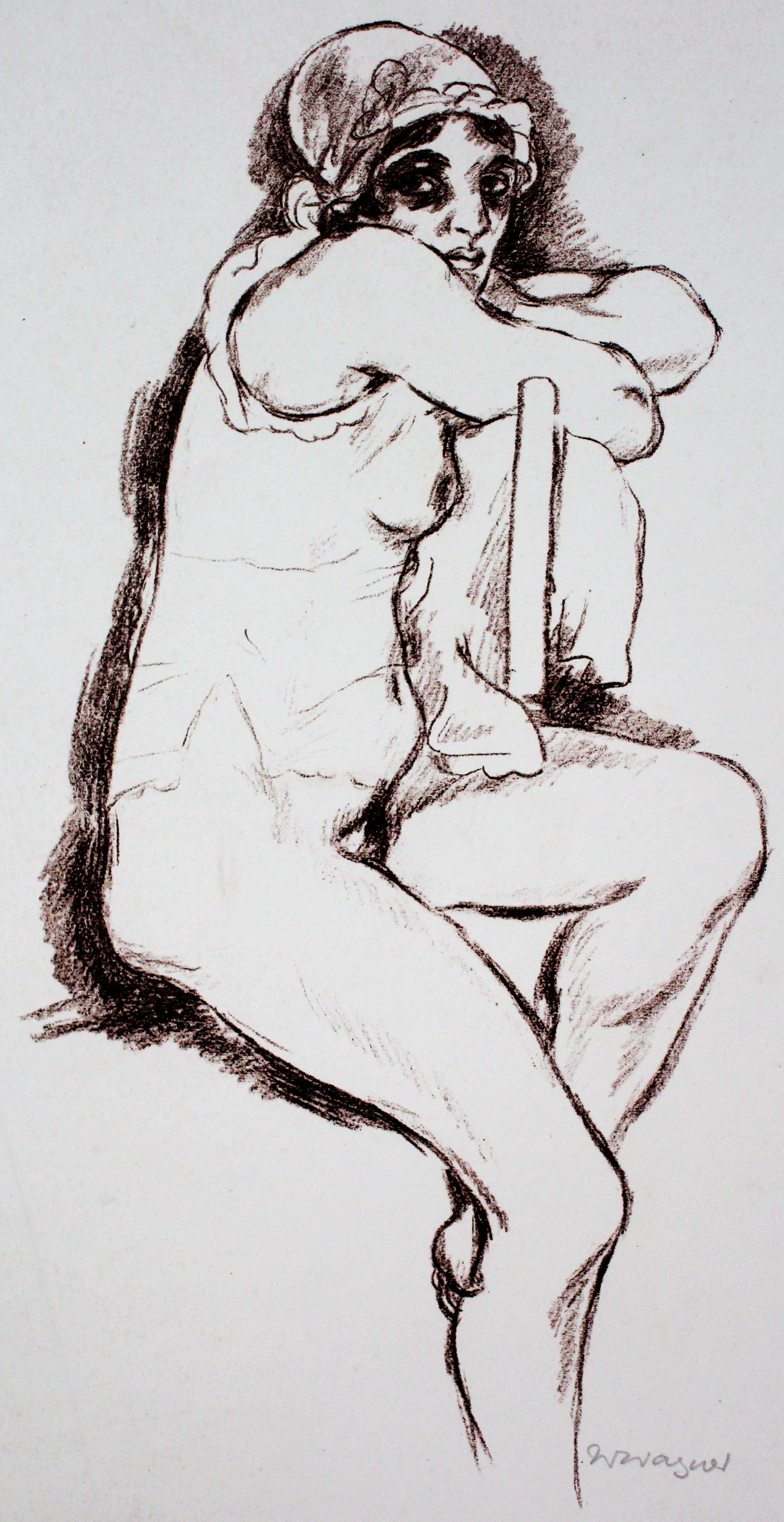 """Wilhelm Wagner - Litho: """"zittend vrouwelijk naakt"""" kopen? Bied vanaf 100!"""