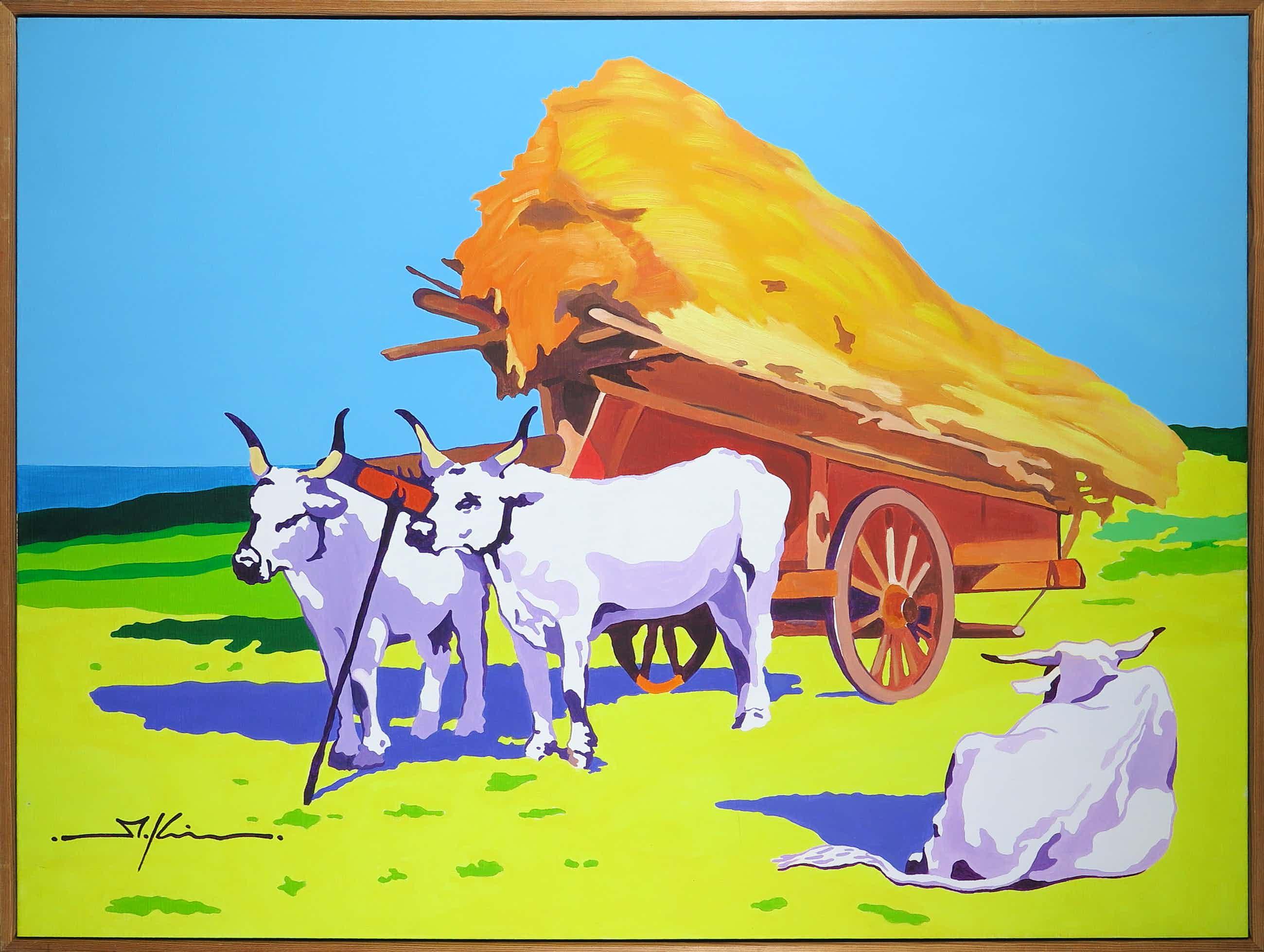 Marco Kooiman - Olieverf op doek, Three oxen and haycart - Ingelijst (Groot) kopen? Bied vanaf 200!