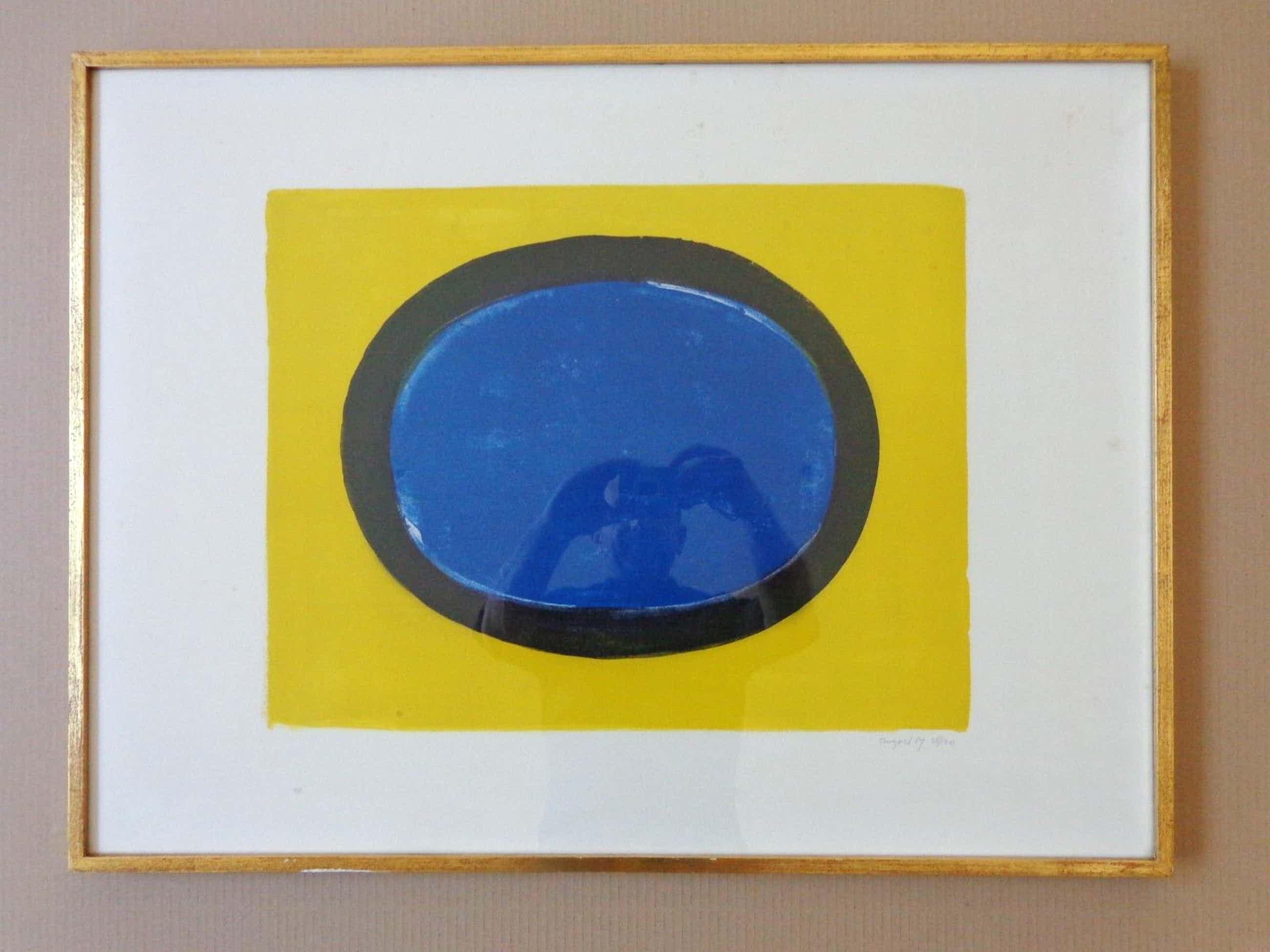 Bram Bogart - GEEL-ZWART-BLAUW / KLEURLITHO / 57x76cm / KADER / SIG/ 1967 kopen? Bied vanaf 215!