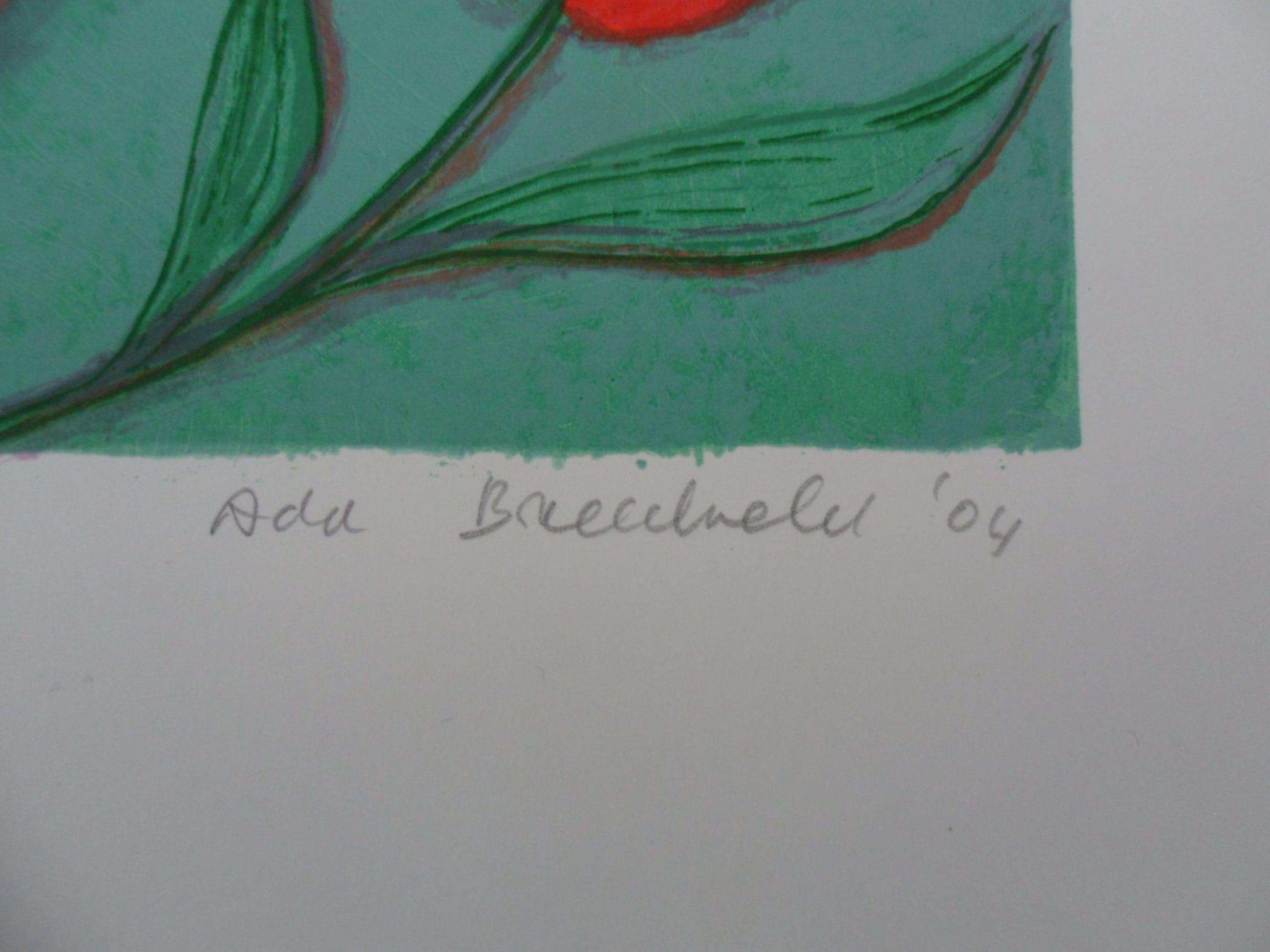"Ada Breedveld - Zeefdruk. Titel, ""Bloemen Koningin "" . kopen? Bied vanaf 50!"