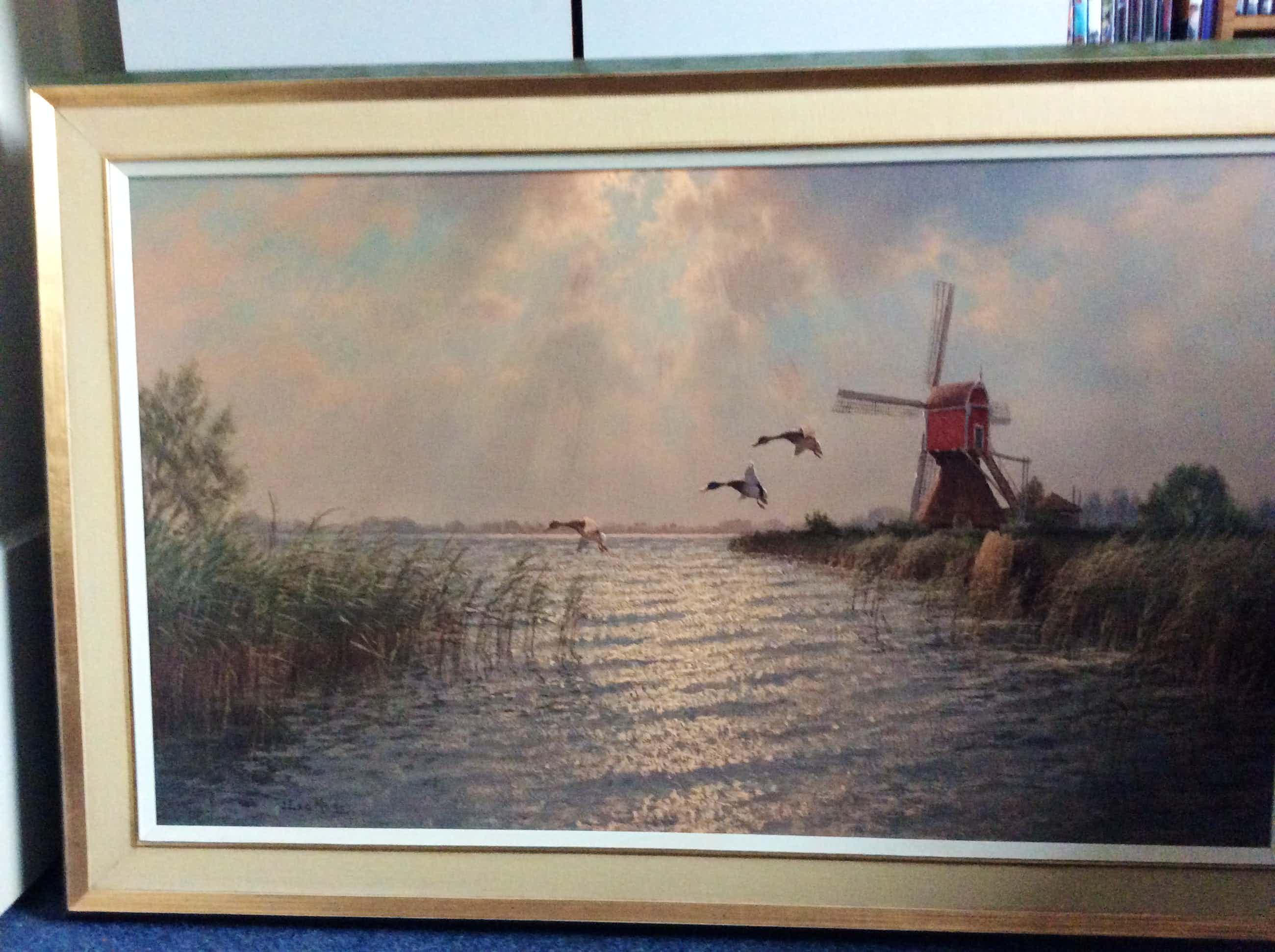 Jacobus Leonardus van der Meide - Polderlandschap met molen, riet en vliegende wilde eenden kopen? Bied vanaf 250!