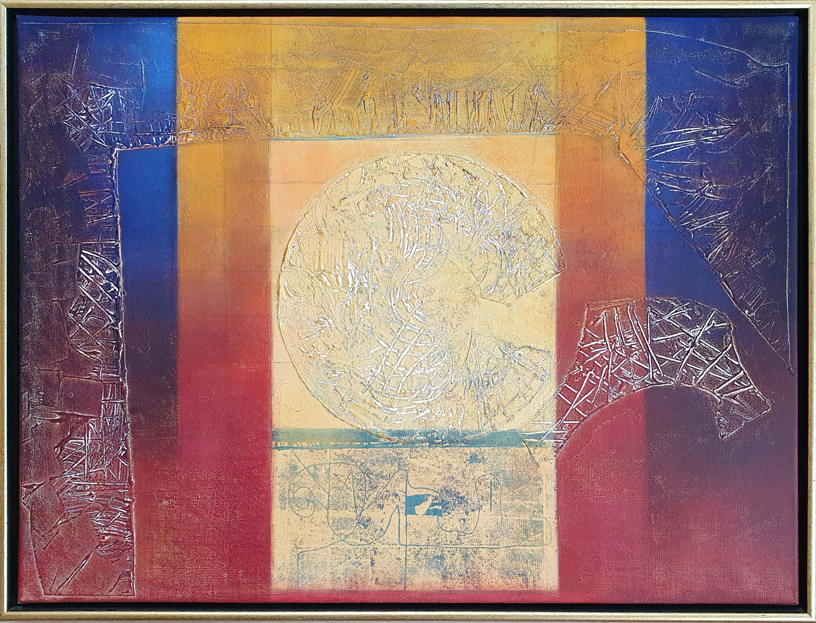 Bert Grotjohann - Abstracte compositie met gouden zon (Ingelijst) kopen? Bied vanaf 150!