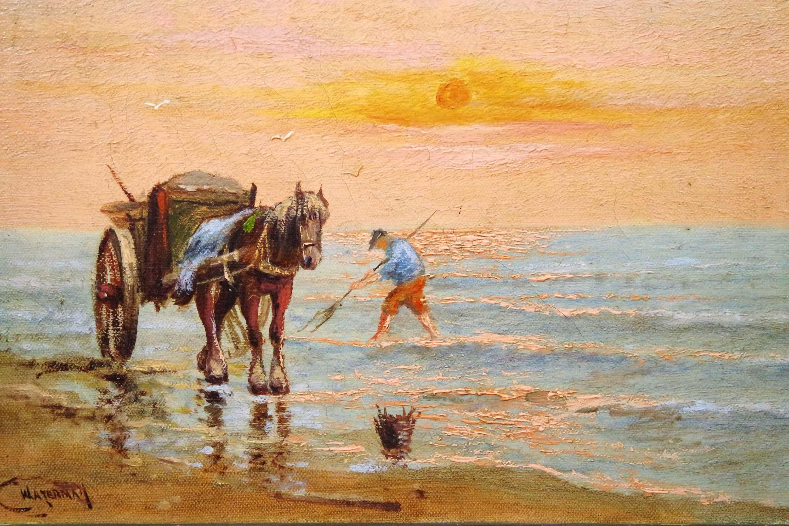 Cornelis Waterman - olieverf op doek - strandgezicht met paard, kar en visser. kopen? Bied vanaf 170!