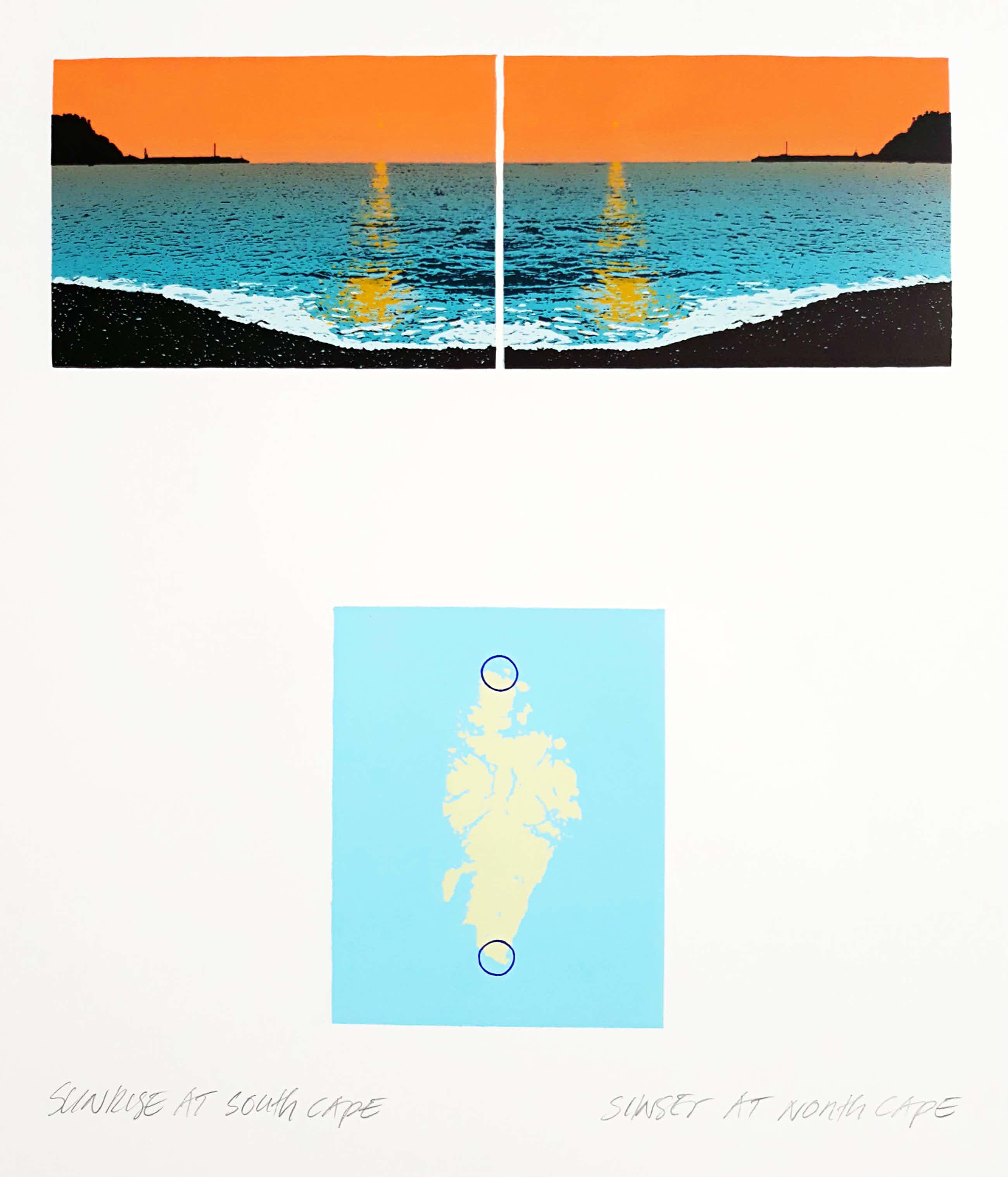 Jan Hendrix - Sunrise at South Cape / Sunset at North Cape, zeefdruk kopen? Bied vanaf 40!