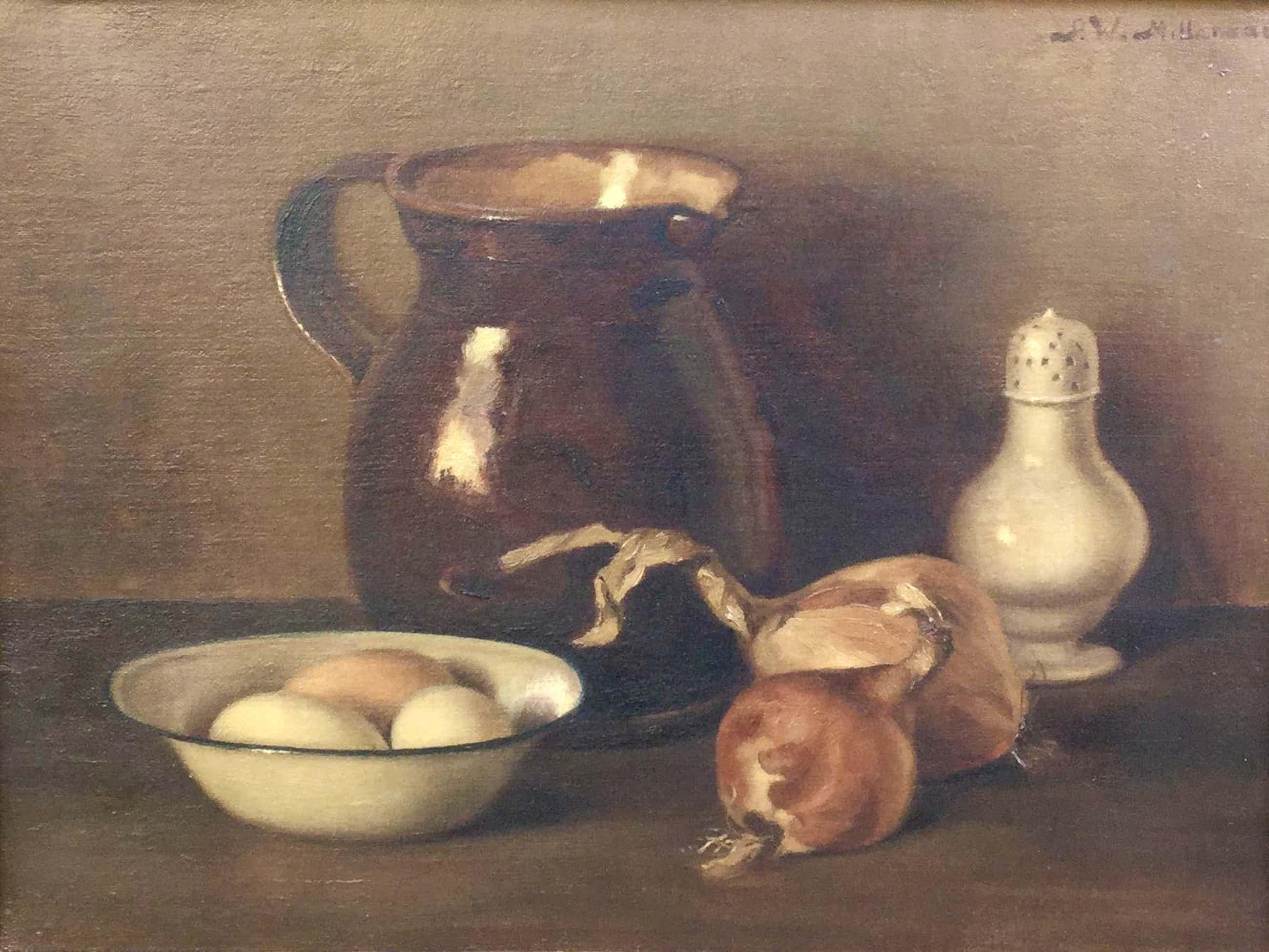 Peter Wilhelm Millenaar - C4922, Stilleven met uien en eieren kopen? Bied vanaf 250!