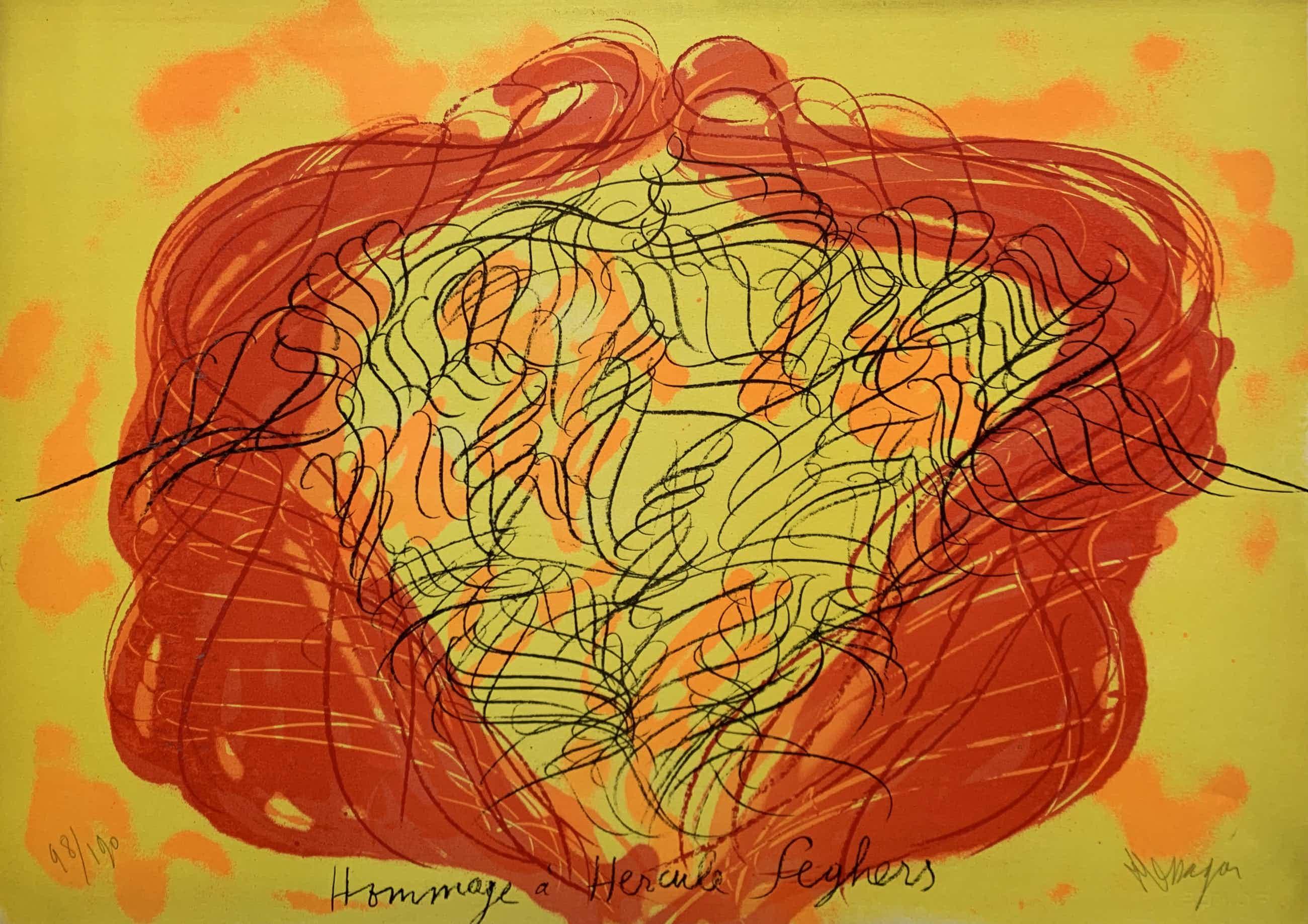 Jean Messagier - kleurenlitho in 5 kleuren - 'Hommage à Seghers' - 1979 (Prent 190) Serie 12B kopen? Bied vanaf 50!