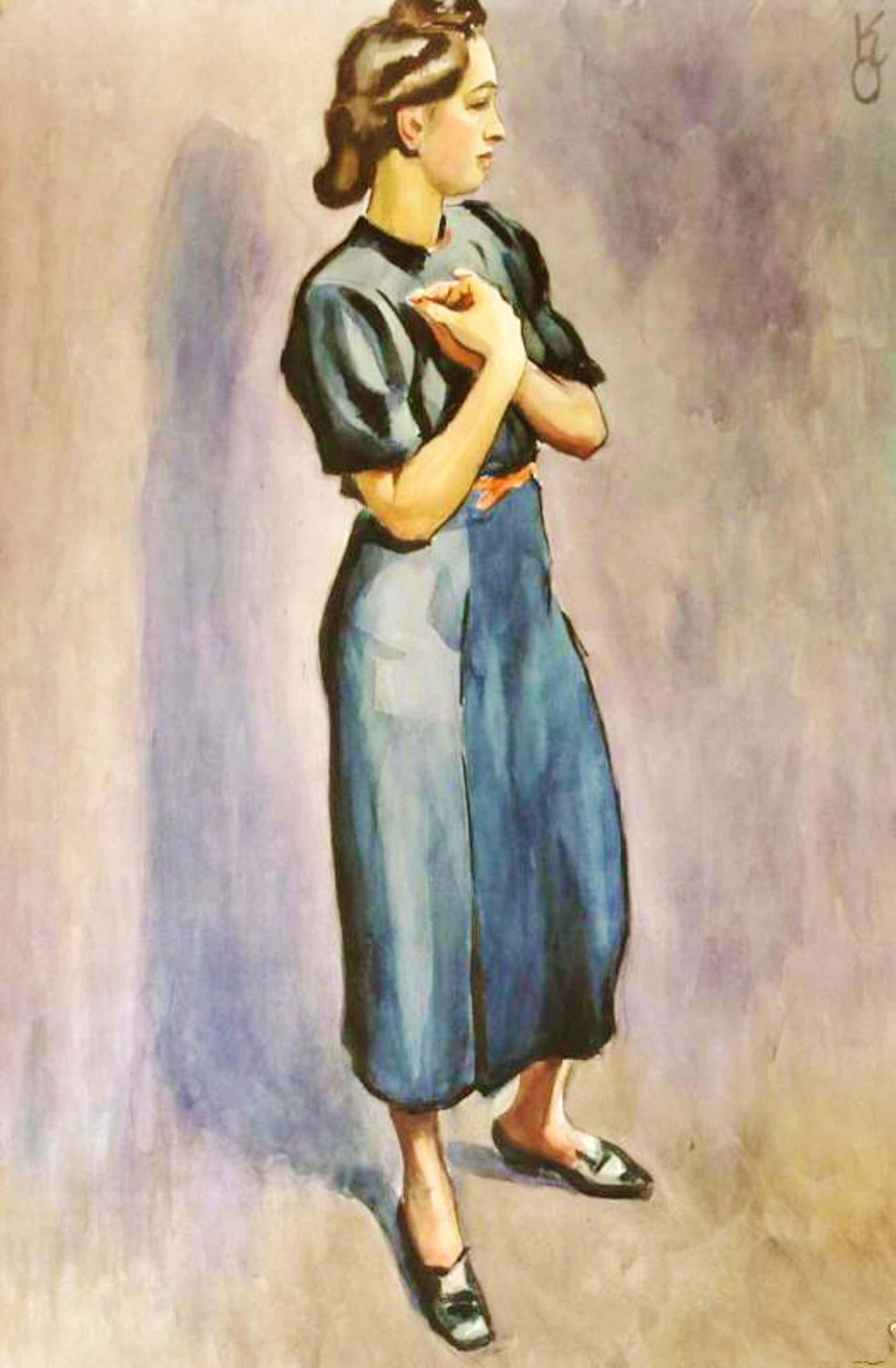 Kurt Opitz - Junge Frau in blauem Kleid, sehr große Gouache kopen? Bied vanaf 400!