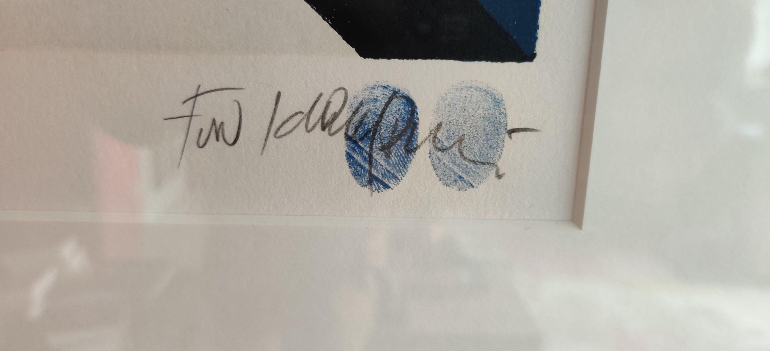 Fon Klement - Rose sur fond bleu - H.C.eigendruk kopen? Bied vanaf 195!
