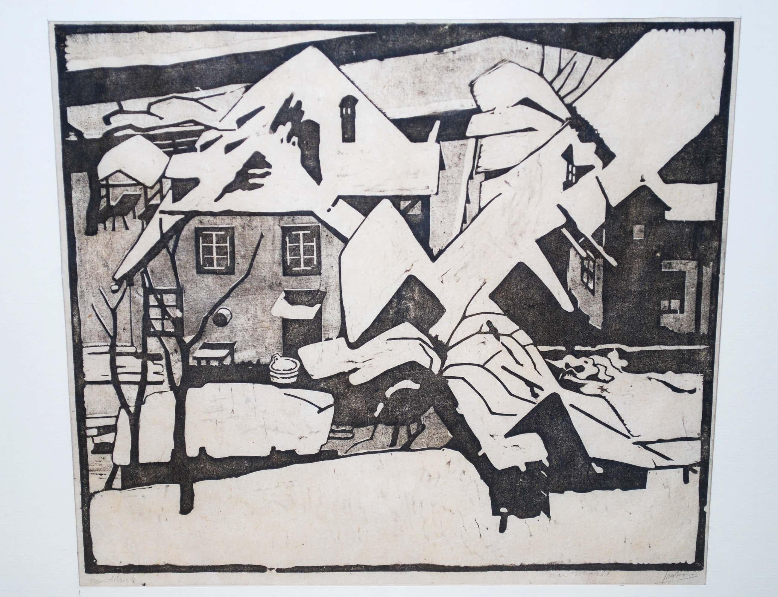 Jan Boon - Huizen in de sneeuw (Traunkirchen) 1922 -houtsnede (voor Marie) -INCL. kunstboek kopen? Bied vanaf 60!