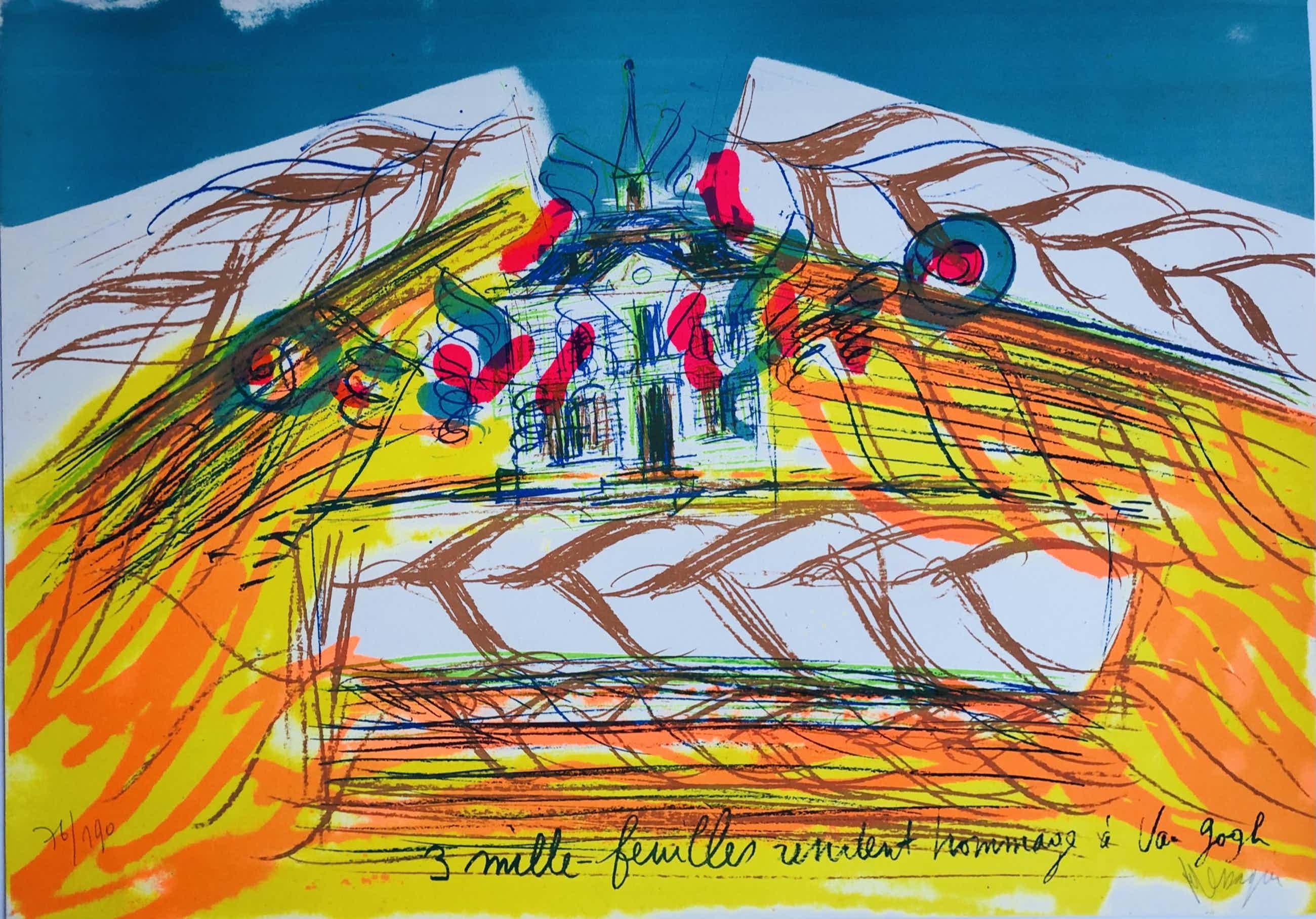 Jean Messagier - kleurenlitho: 3 mille feuilles rendent hommages a van Gogh kopen? Bied vanaf 45!