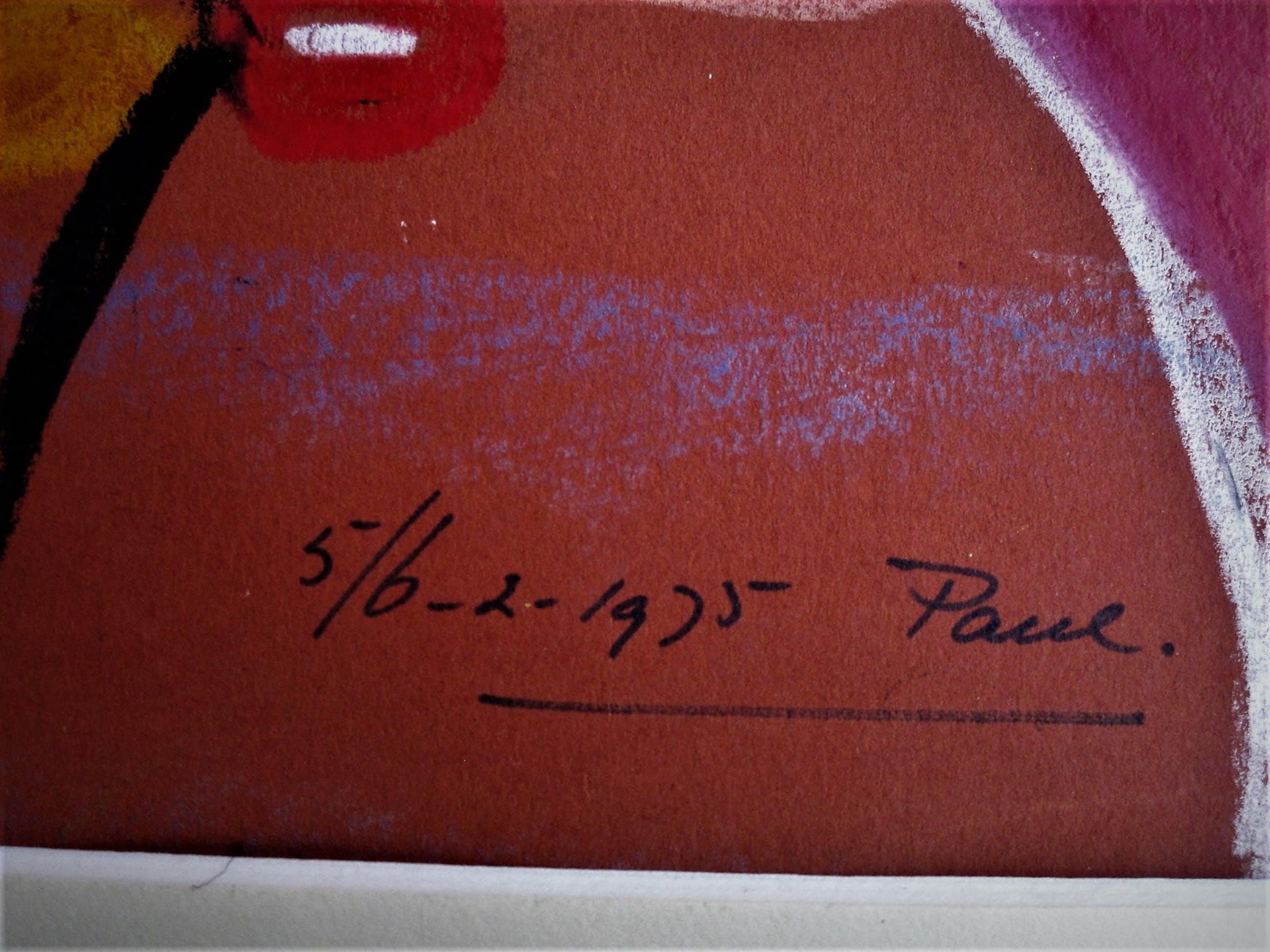 """Paul Koning - Bijzonder Psychedelisch jaren 70 Pastel (ViltStift) """"TaRaRaBoemDieJ"""" gesigneerd kopen? Bied vanaf 10!"""