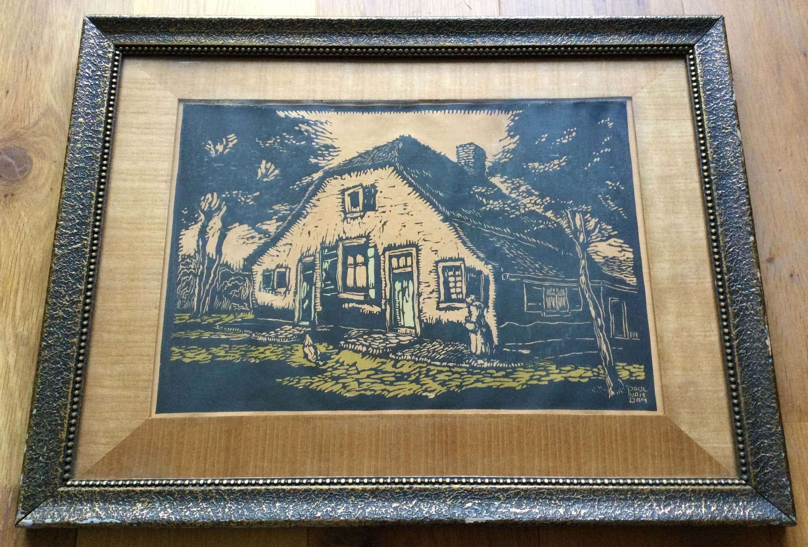 Paul van Dam - Veluwse boerderij | houtsnede - gekleurd in bewerkte houten lijst kopen? Bied vanaf 20!