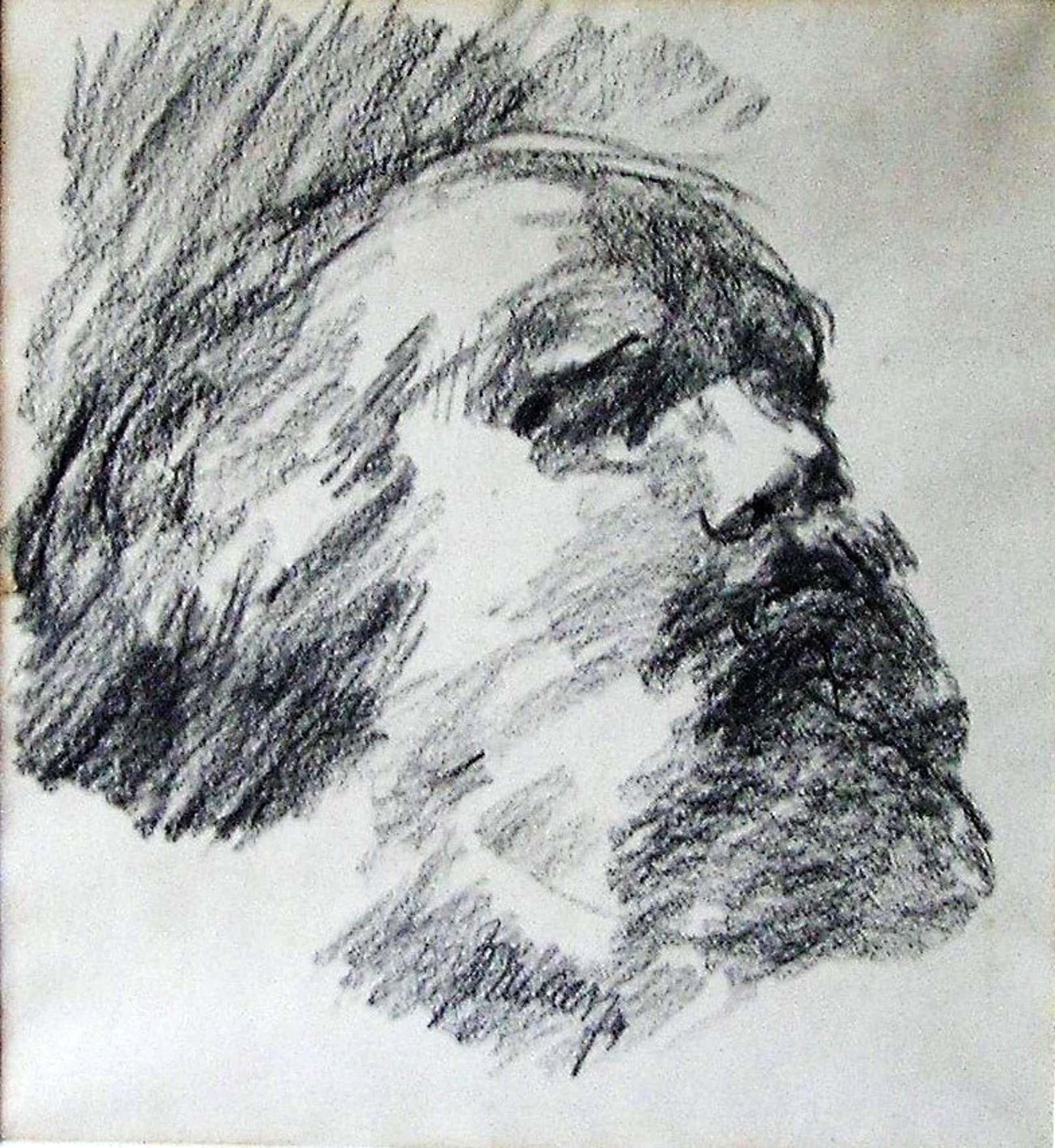 Jo Maes - Portretstudie van Man met Baard, '74, Krijttekening kopen? Bied vanaf 15!