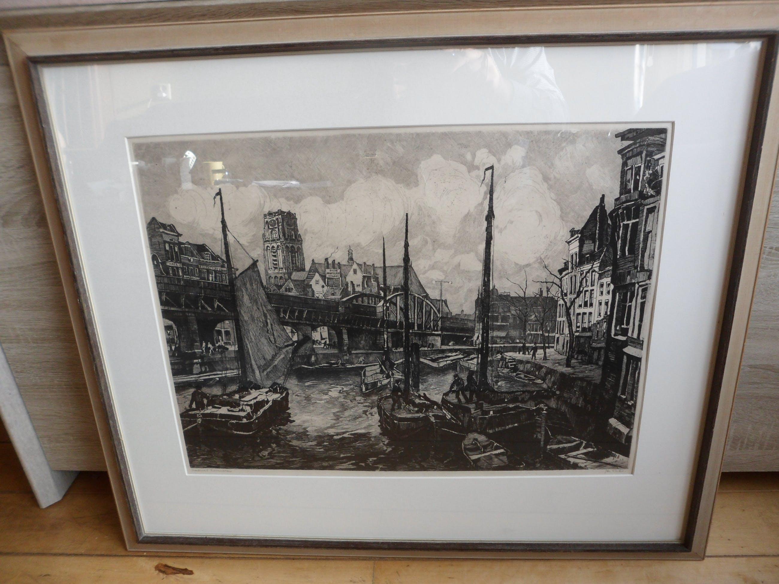 """Jan Sirks - Ets. Titel. """"Viaduct Rotterdam """". Groot werk kopen? Bied vanaf 50!"""