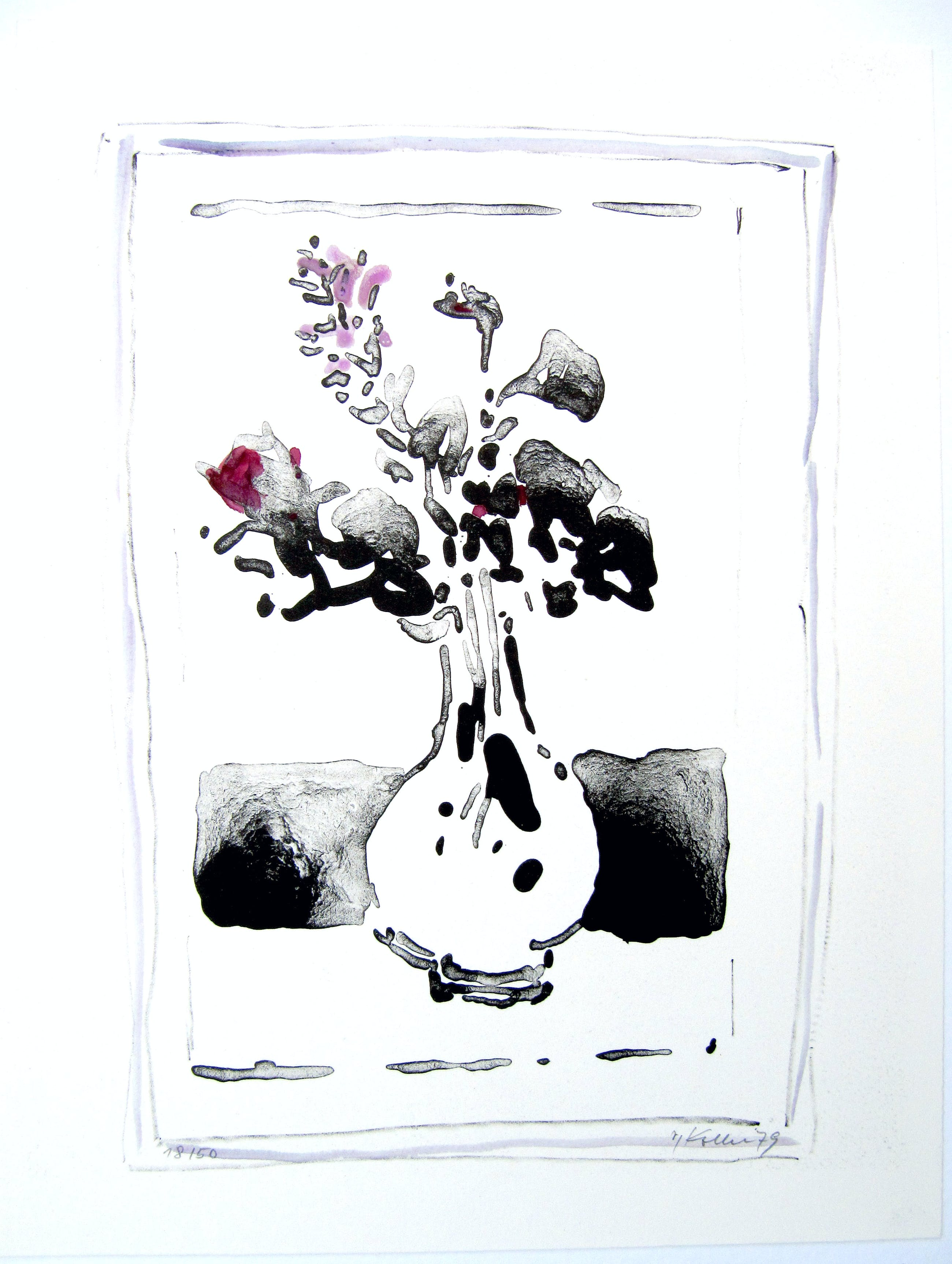 Oskar Koller - Blume mit Rosa Rand WVZ 477 Expl. 18/50 von 1979 kopen? Bied vanaf 190!
