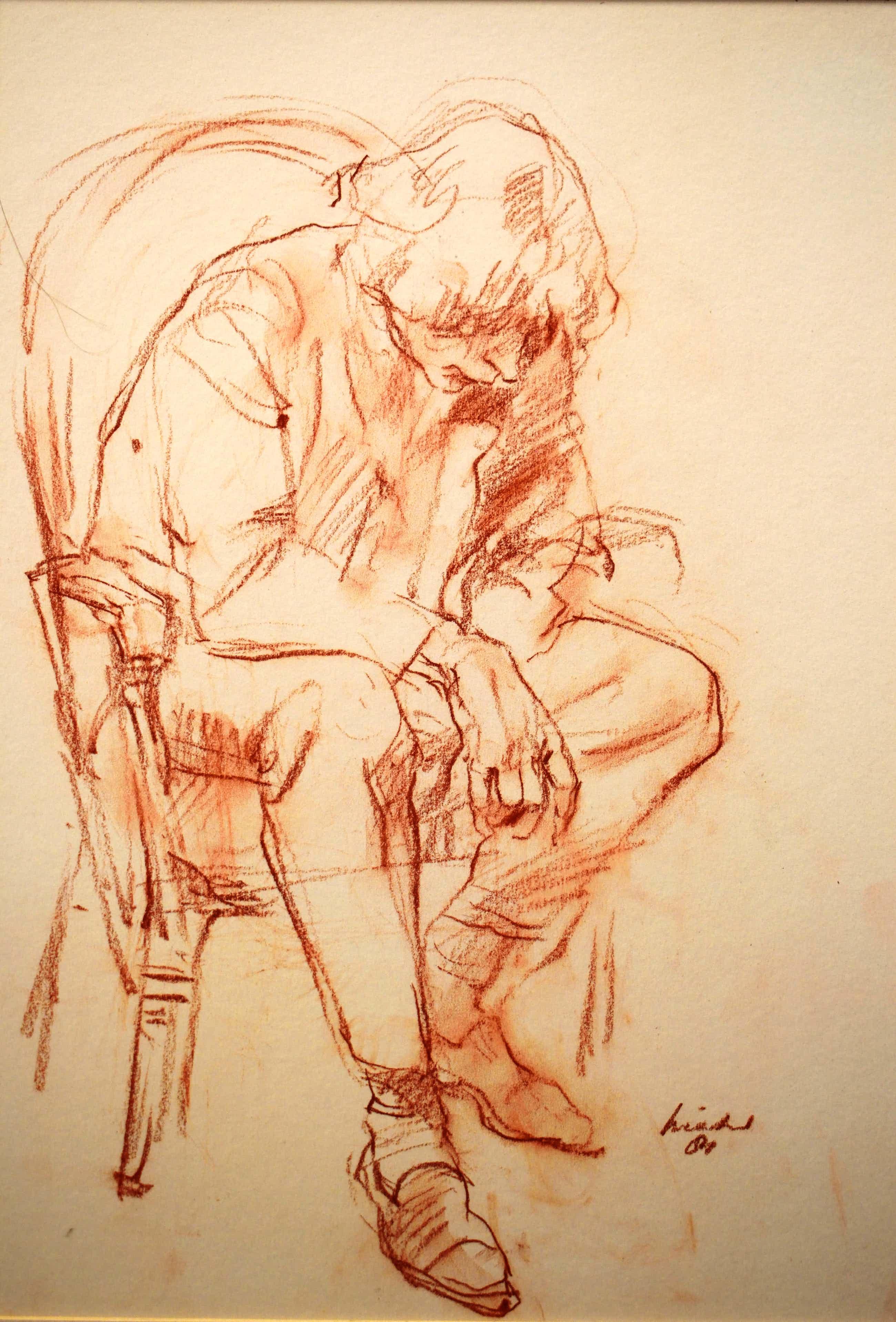 Joop Liesker - Portret van persoon op stoel kopen? Bied vanaf 75!