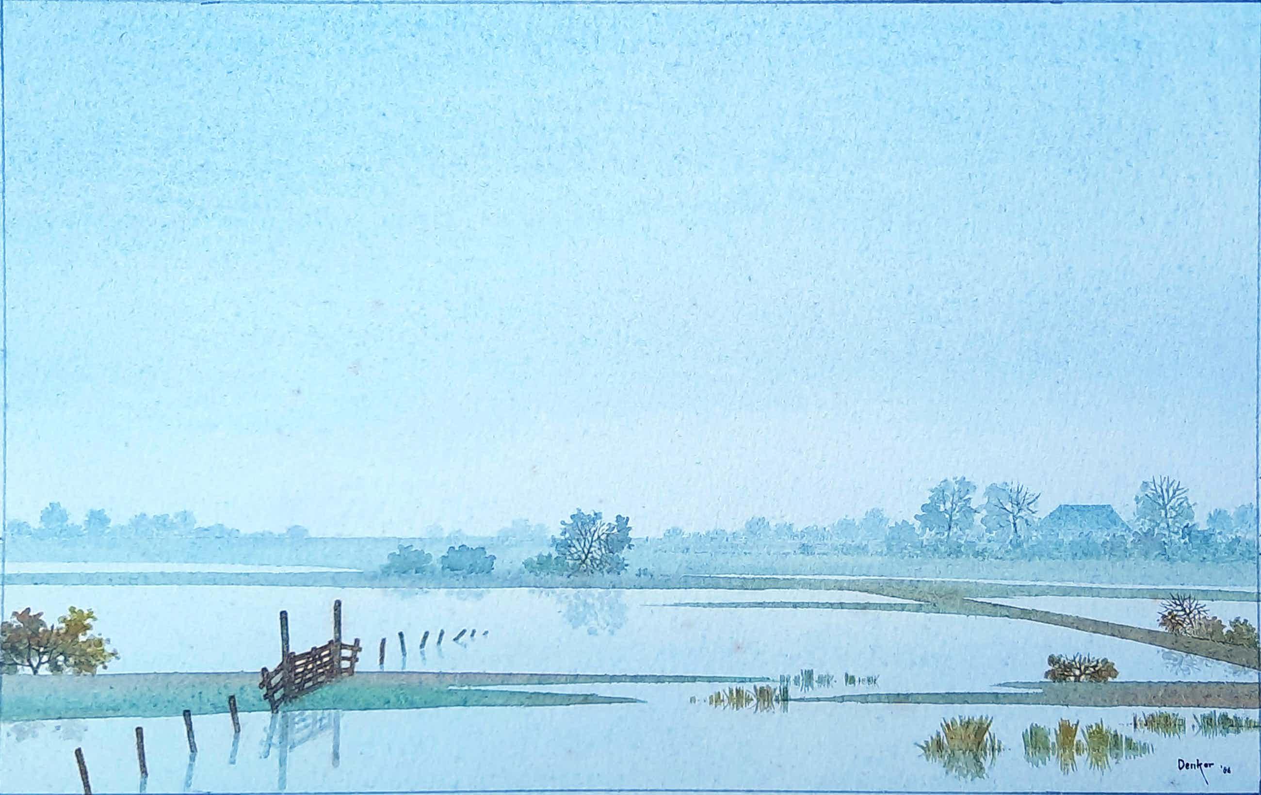 Denkor - aquarel rivierenlandschap - ingelijst - 21875 kopen? Bied vanaf 35!