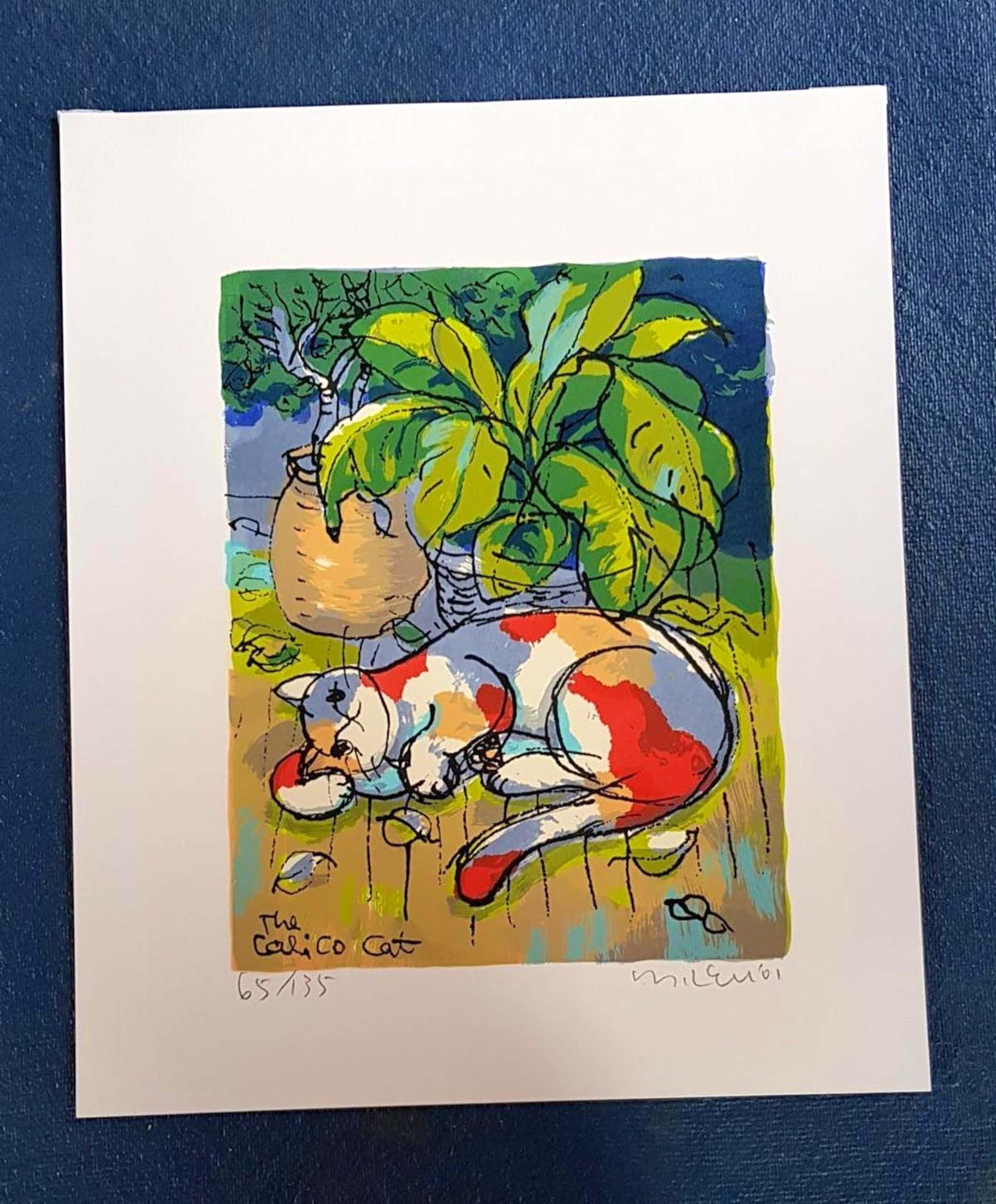 Michael Leu - The Calico Cat, Serigrafie 2001 kopen? Bied vanaf 130!