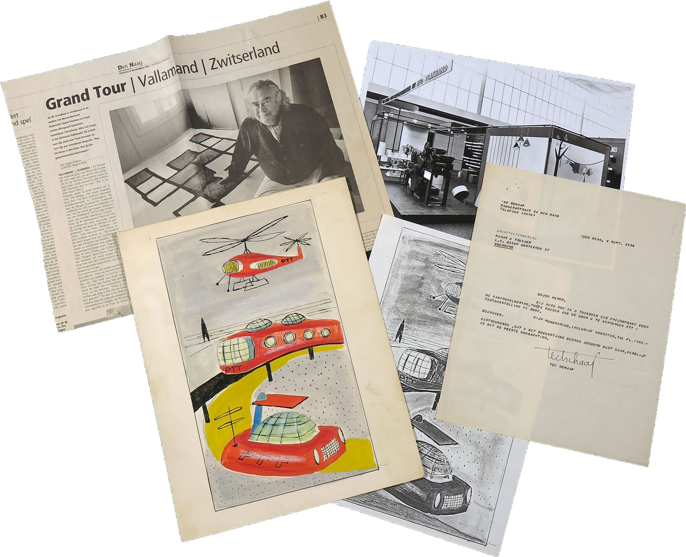 Ted Schaap - Gouache op papier, Ontwerp voor wandschildering PTT (en andere items) kopen? Bied vanaf 1!