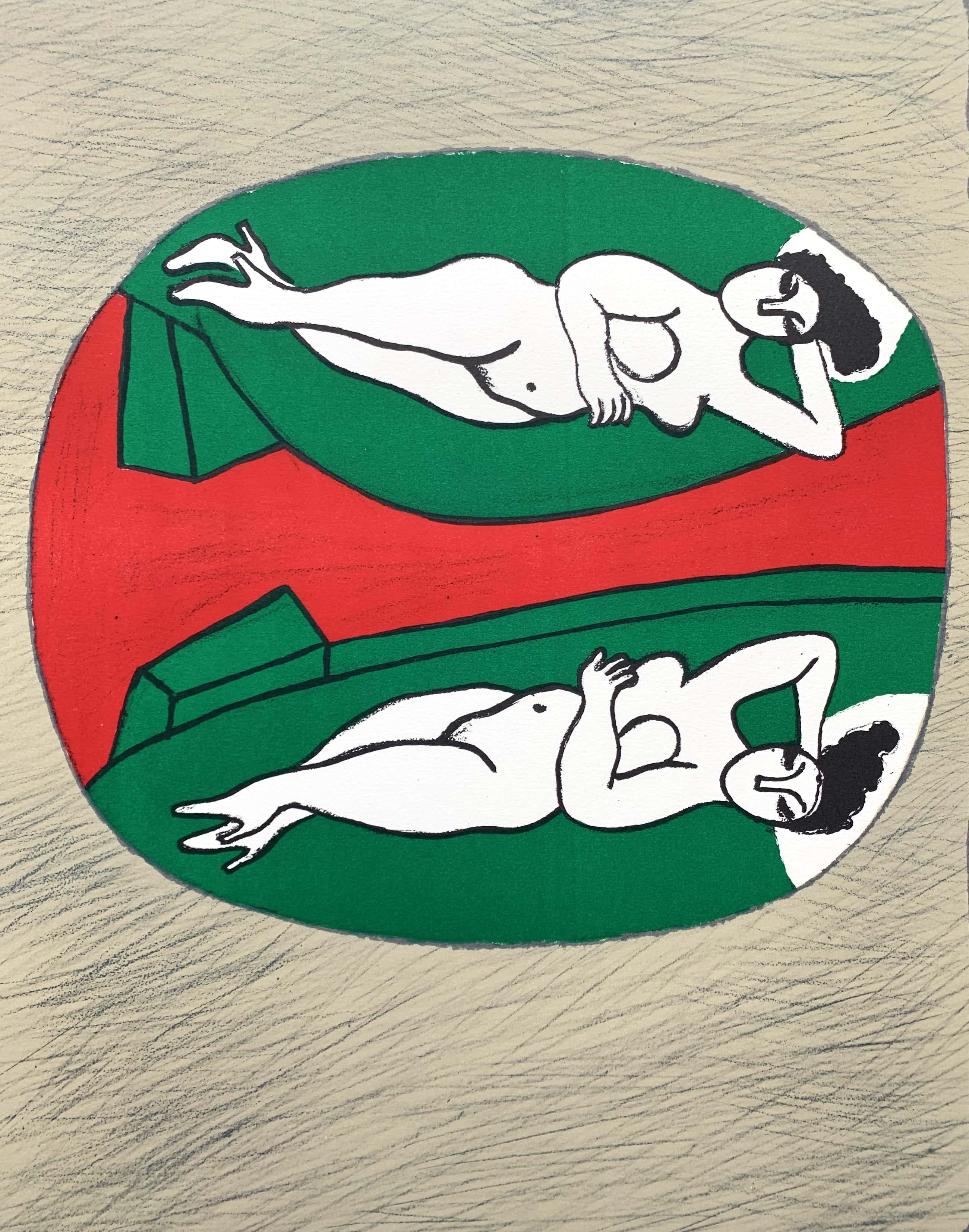 Corneille - kleurenlitho - 'Nu dans un miroir' - 1987 kopen? Bied vanaf 325!