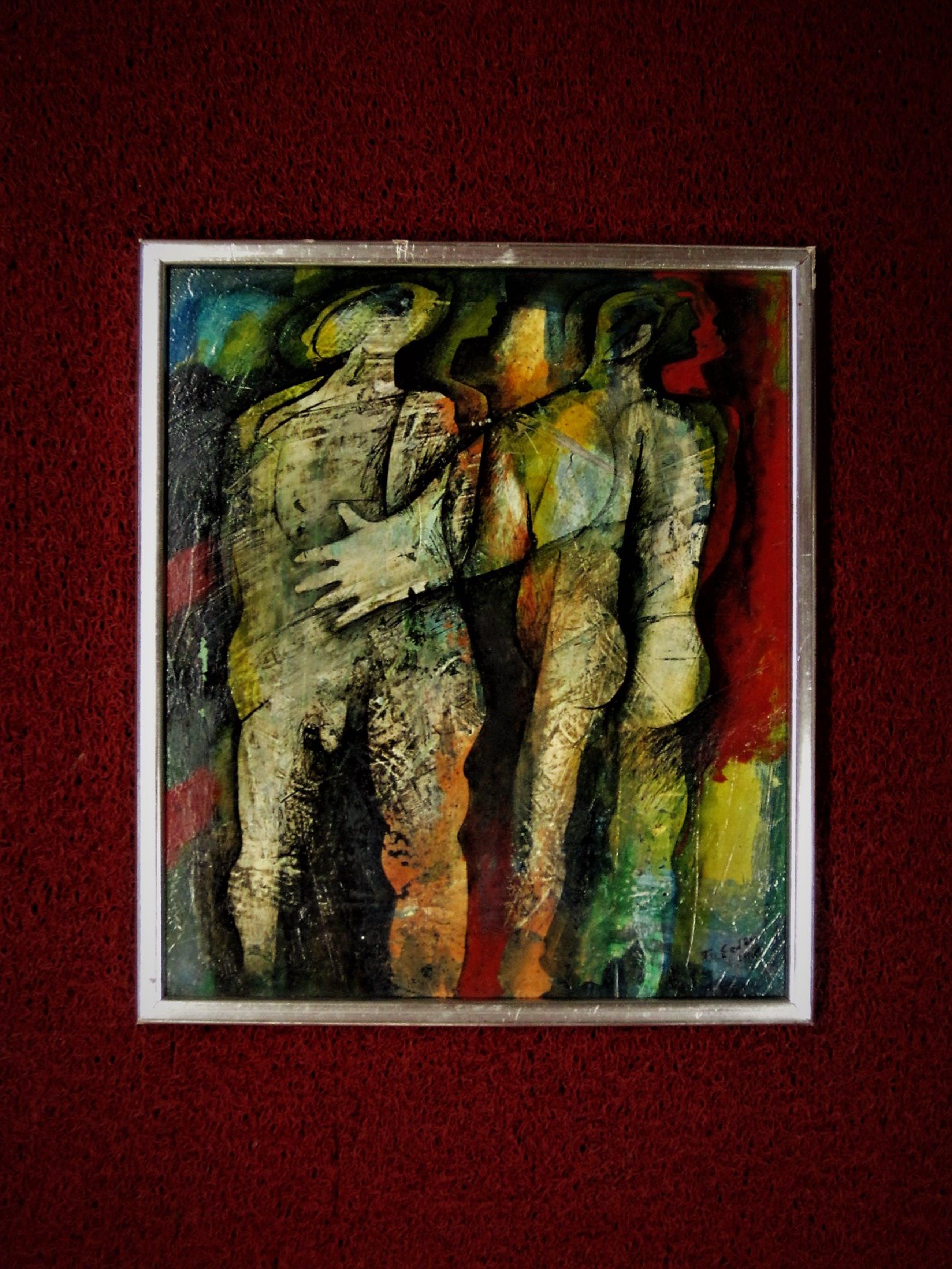"""Frits van Eeden - Magnifiek expressionistisch Olieverf """"Ontmoeting"""" gesigneerd kopen? Bied vanaf 10!"""