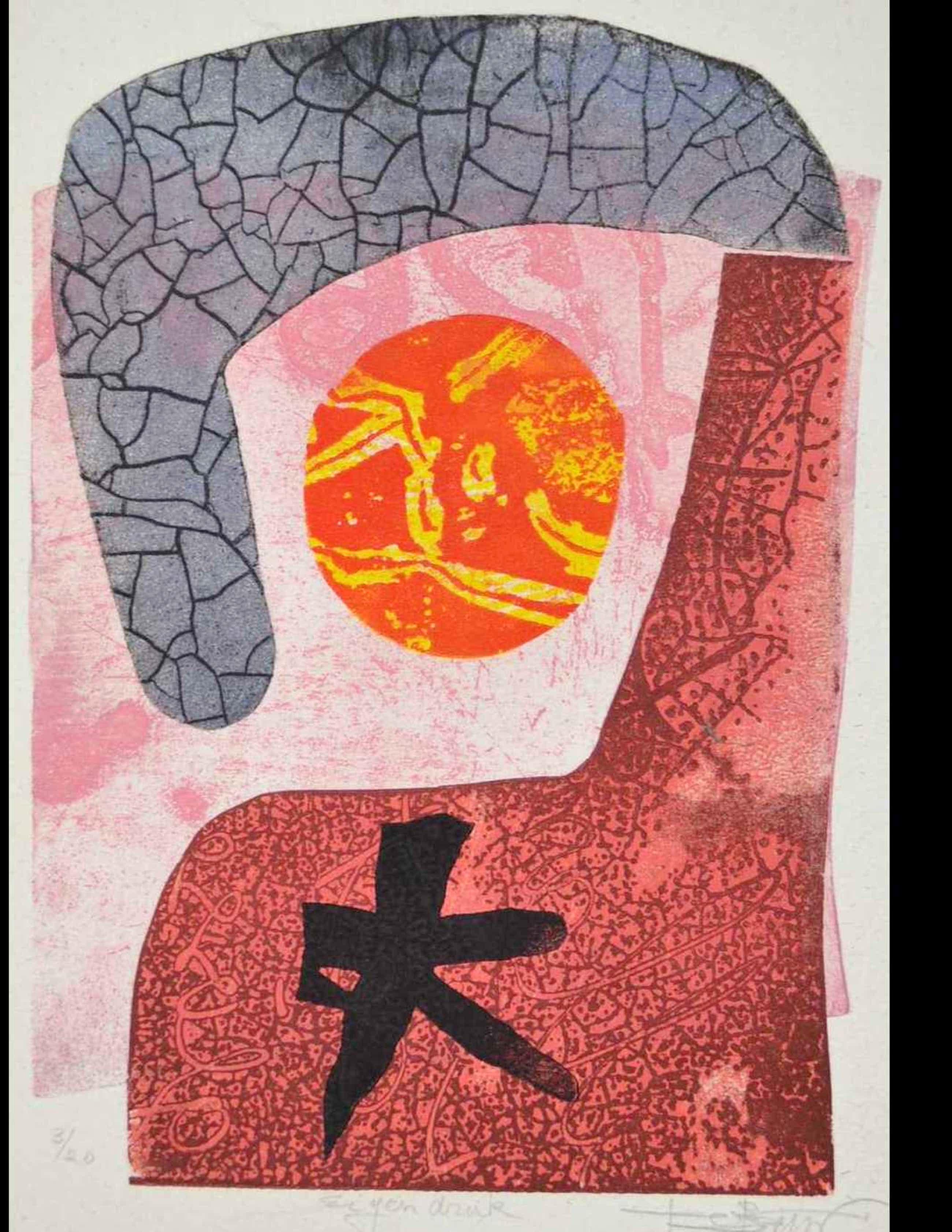 Koos van der Sluys - ets, abstract kopen? Bied vanaf 35!