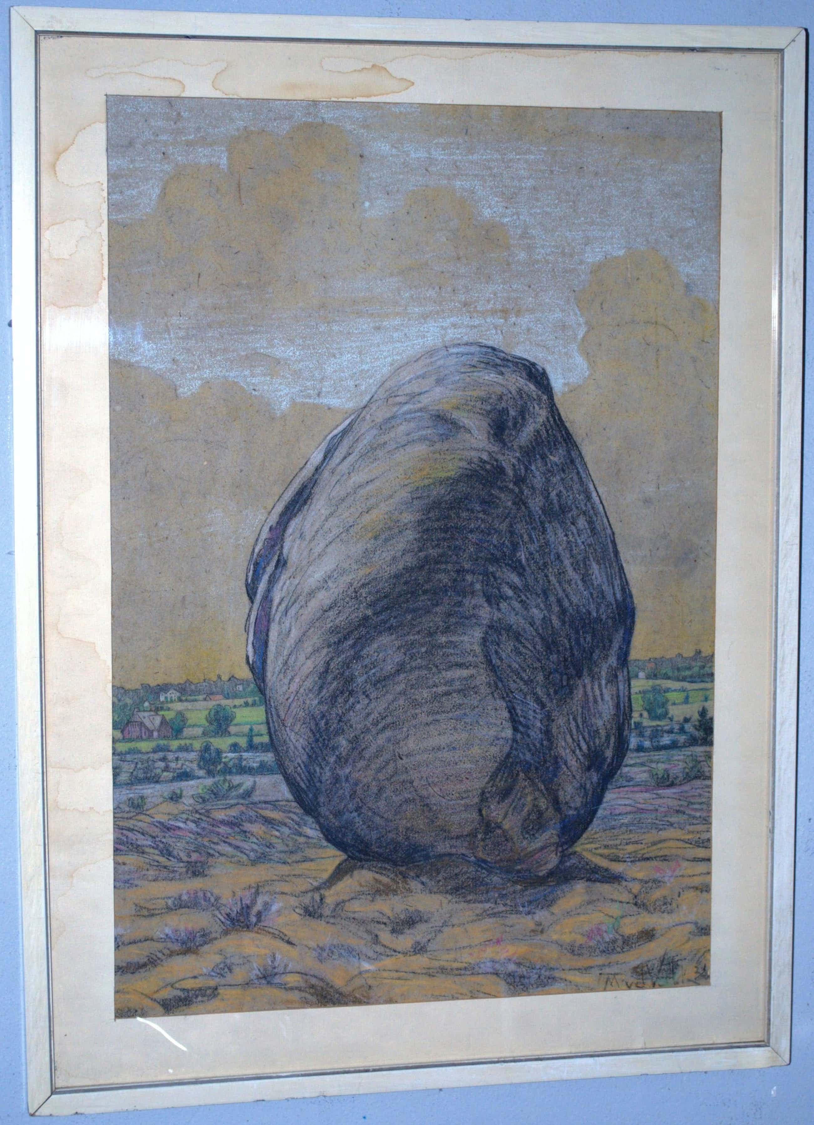 Maurits van der Valk - Amersfoortse Kei - krijttekening 1921 kopen? Bied vanaf 75!