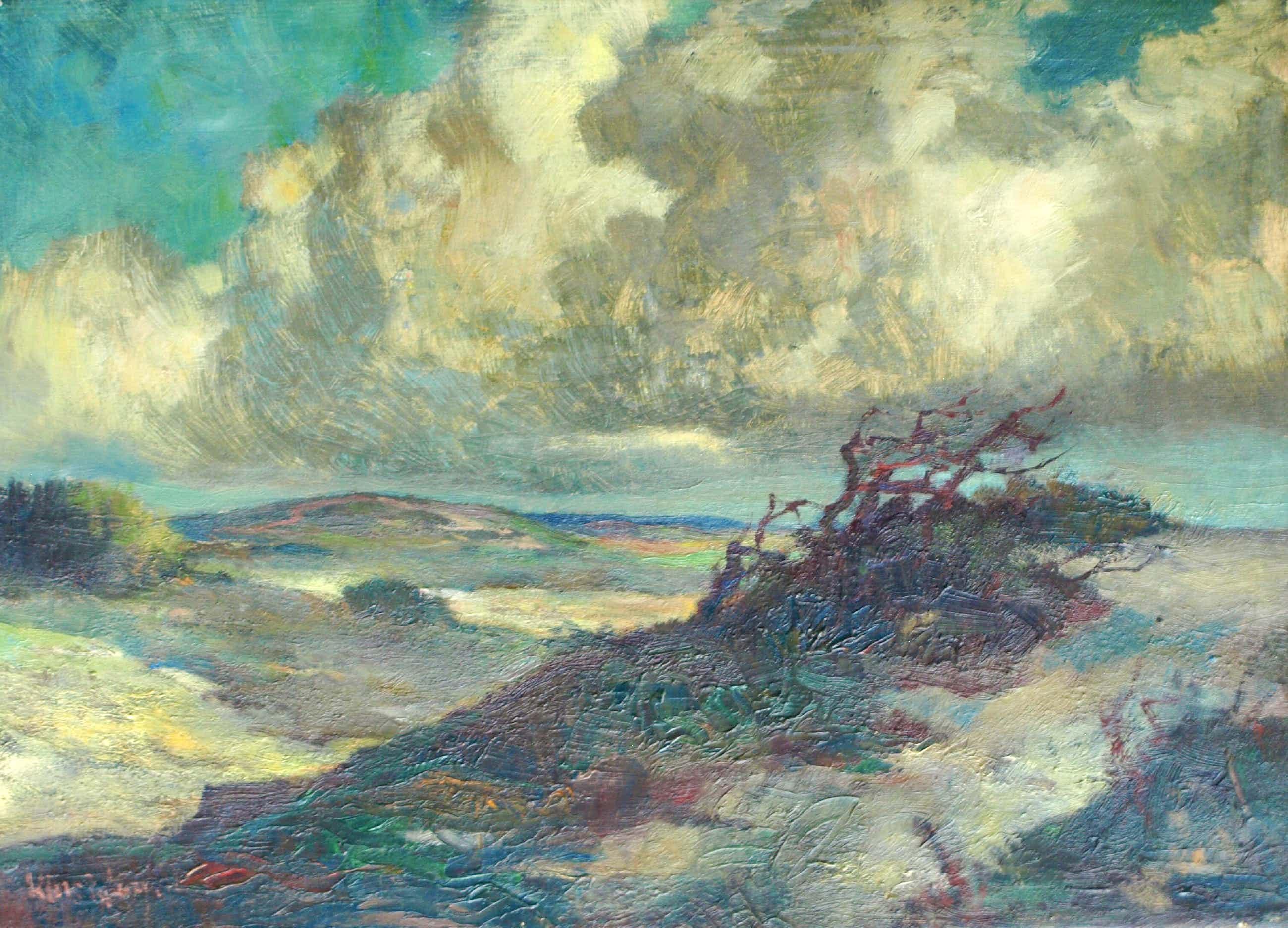 Klaas Pijlman - Olieverf op doek , Duinlandschap met dreigende lucht – 50 x 70 cm. kopen? Bied vanaf 55!