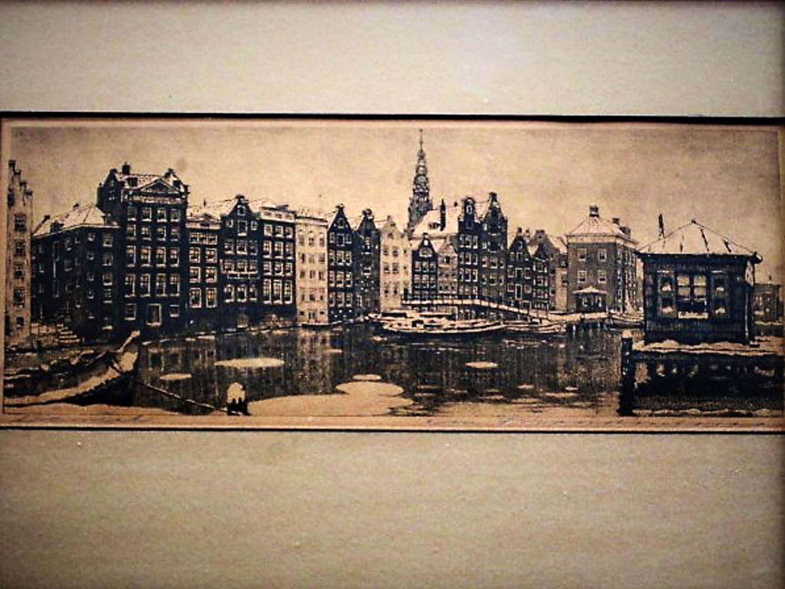"""Cornelis Brandenburg - één van Nederlands grootste etsers - Amsterdam """"het Damrak in winter"""" kopen? Bied vanaf 35!"""