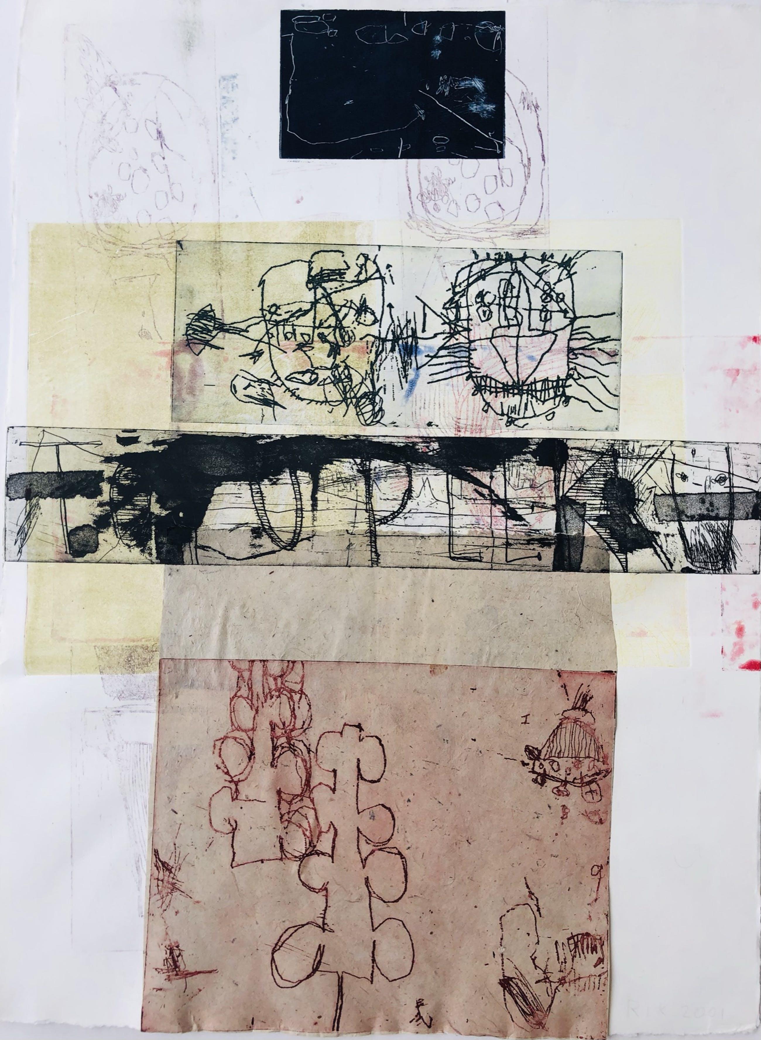 Rik van Iersel - gemengde techniek - collage en etsen - 2001 kopen? Bied vanaf 185!