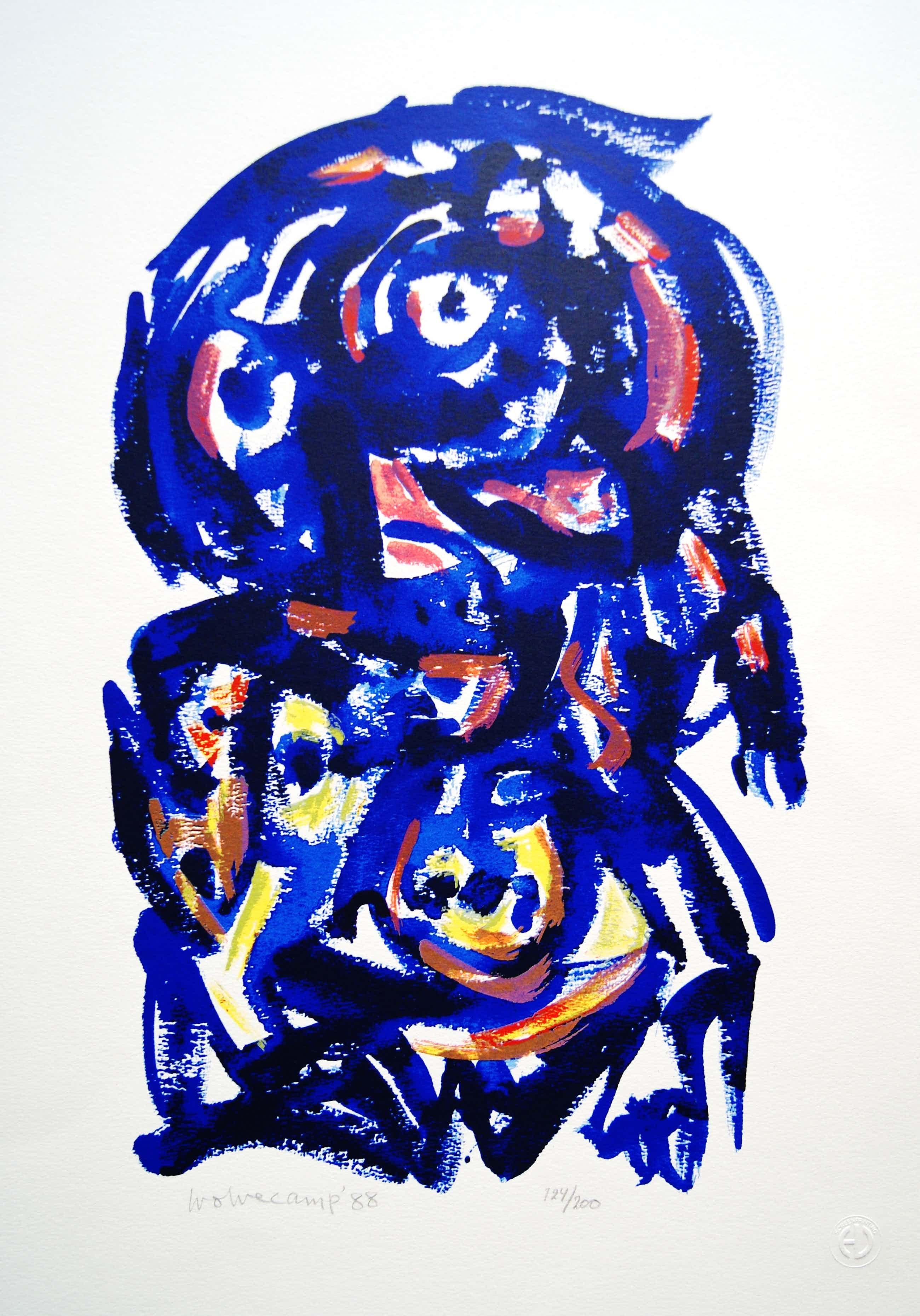 Theo Wolvecamp - abstracte zeefdruk - 1988 kopen? Bied vanaf 195!