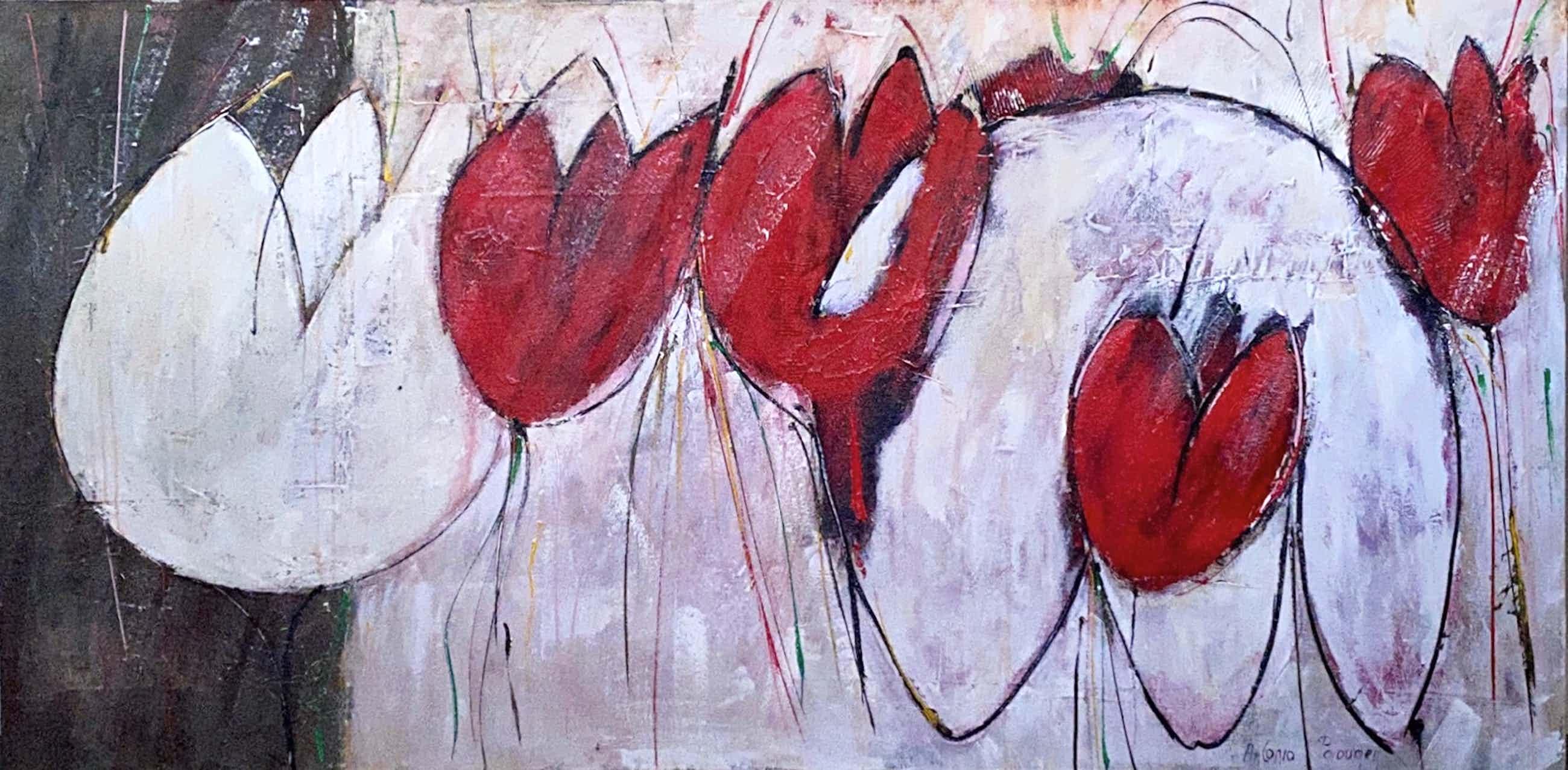 Antonio Poioumen - Red and White Tulips kopen? Bied vanaf 500!