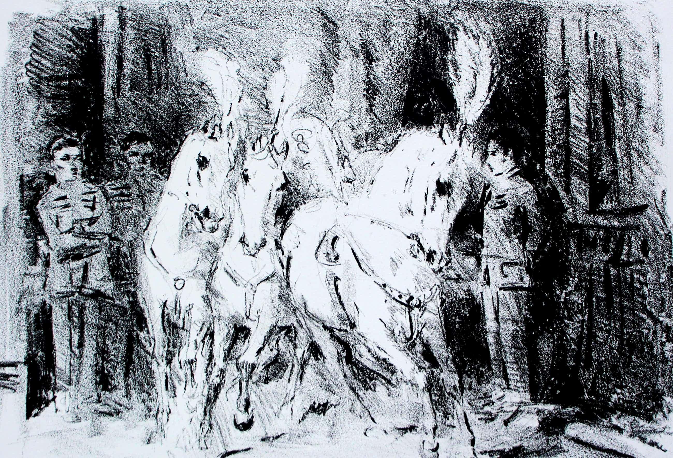 Jan Groenestein - Litho: paarden kopen? Bied vanaf 60!
