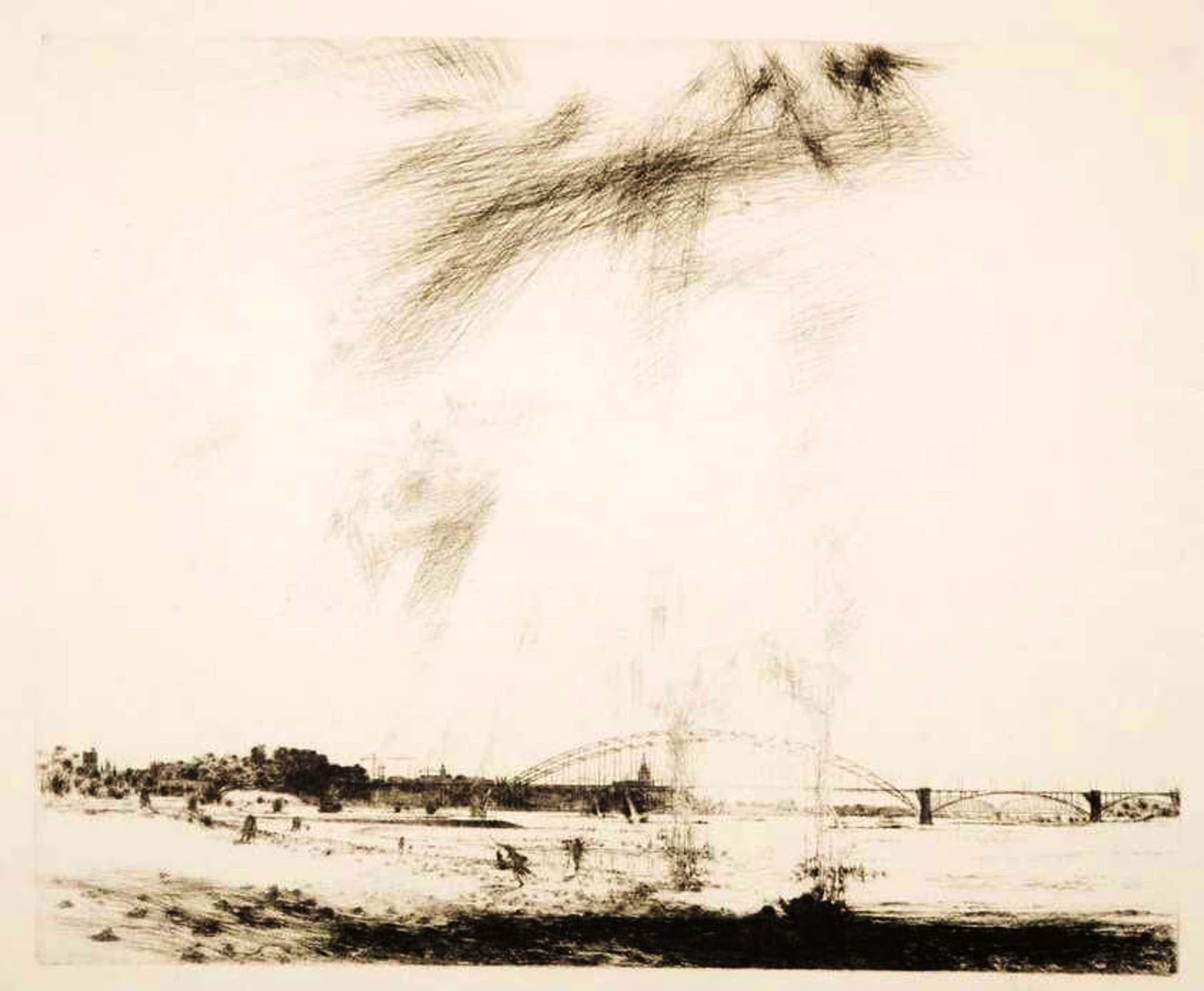 Willem den Ouden - Ets op rijstpapier, Z.T. Landschap met brug kopen? Bied vanaf 60!
