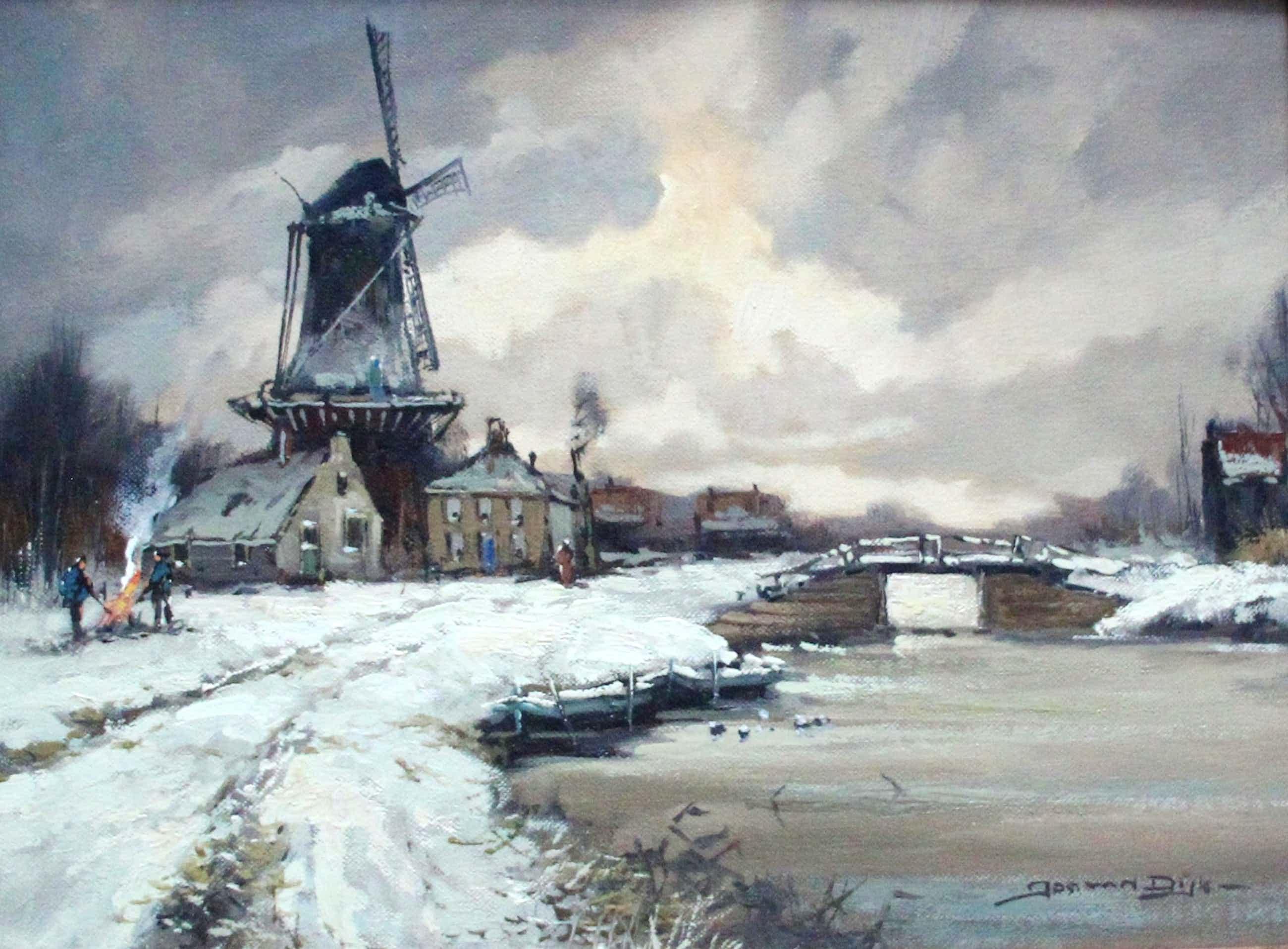 Jos van Dijk - Olieverf op doek: Winters landschap kopen? Bied vanaf 120!