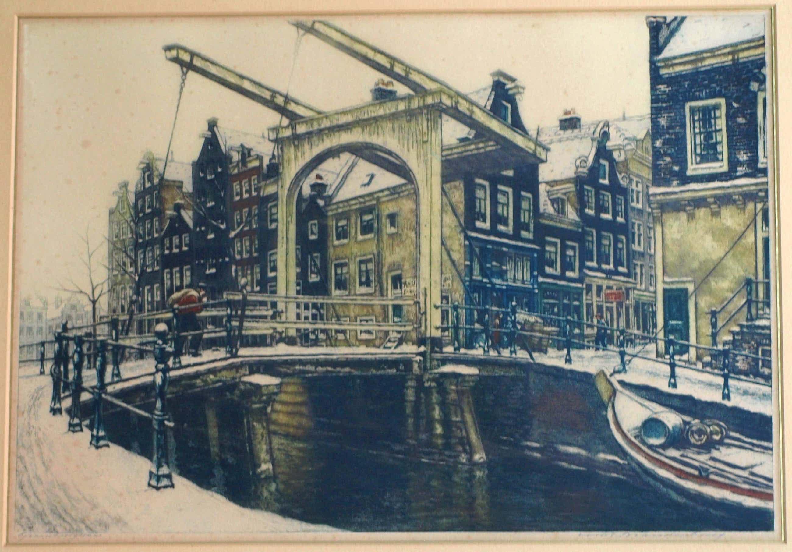 Cornelis Brandenburg - Ets, Groenburgwal Amsterdam in de winter – in originele lijst - groot kopen? Bied vanaf 100!