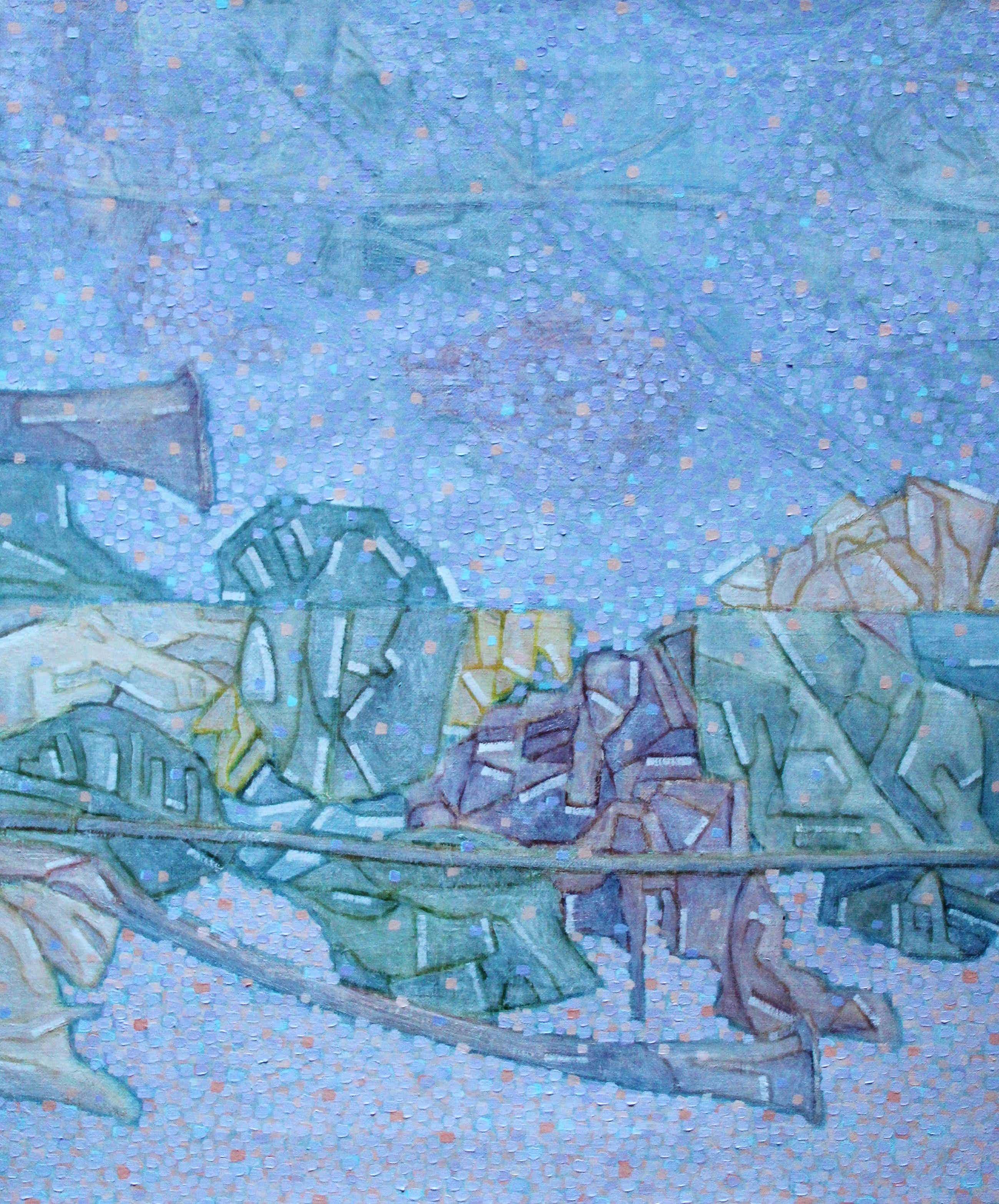 Stef Jurrien - Olieverf op doek: Uitzicht op het meer met reflecterende bomen kopen? Bied vanaf 299!