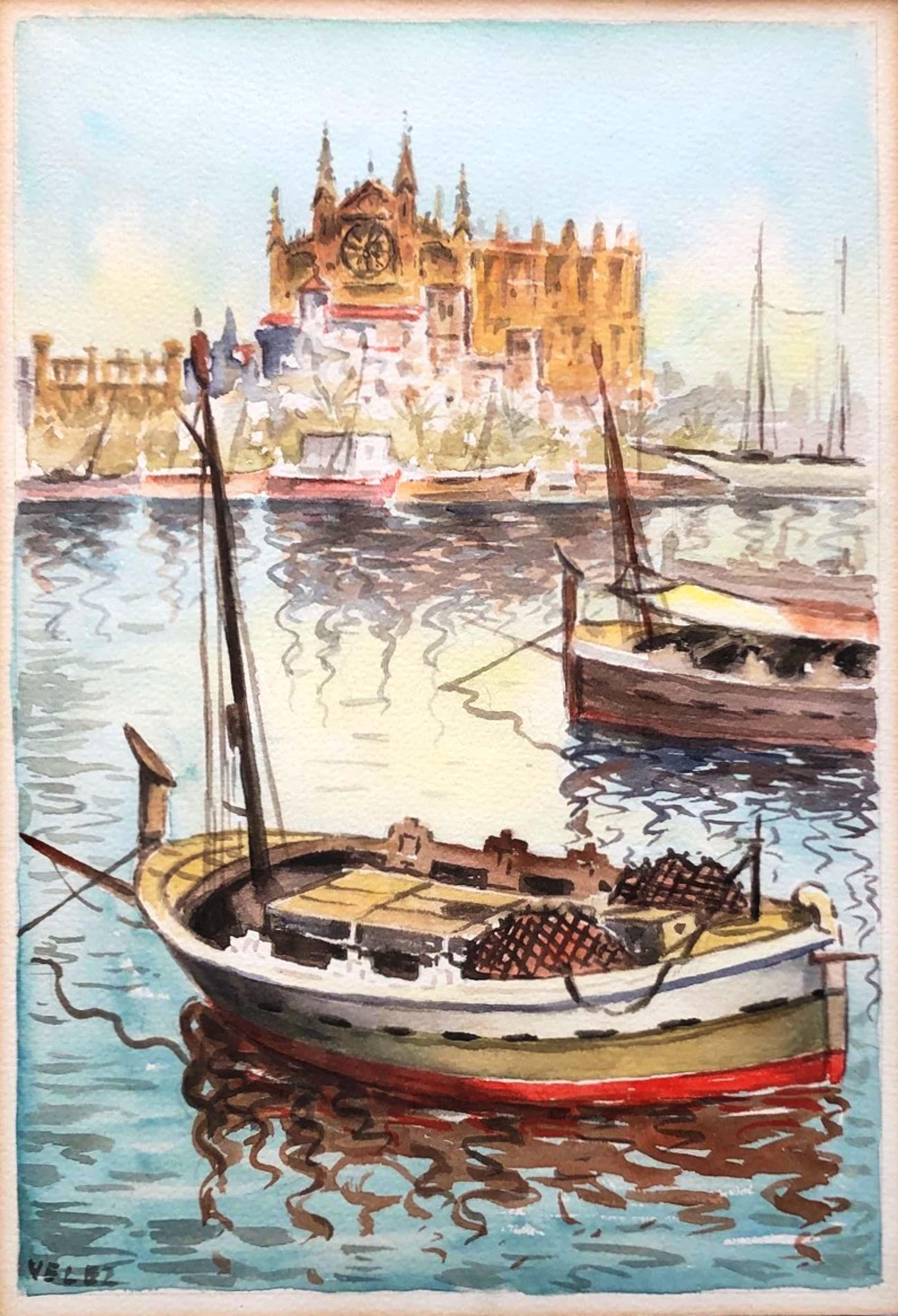 """Antonio De Velez - """"Zicht vanuit de Haven op Kathedraal La Seu Mallorca"""" kopen? Bied vanaf 40!"""