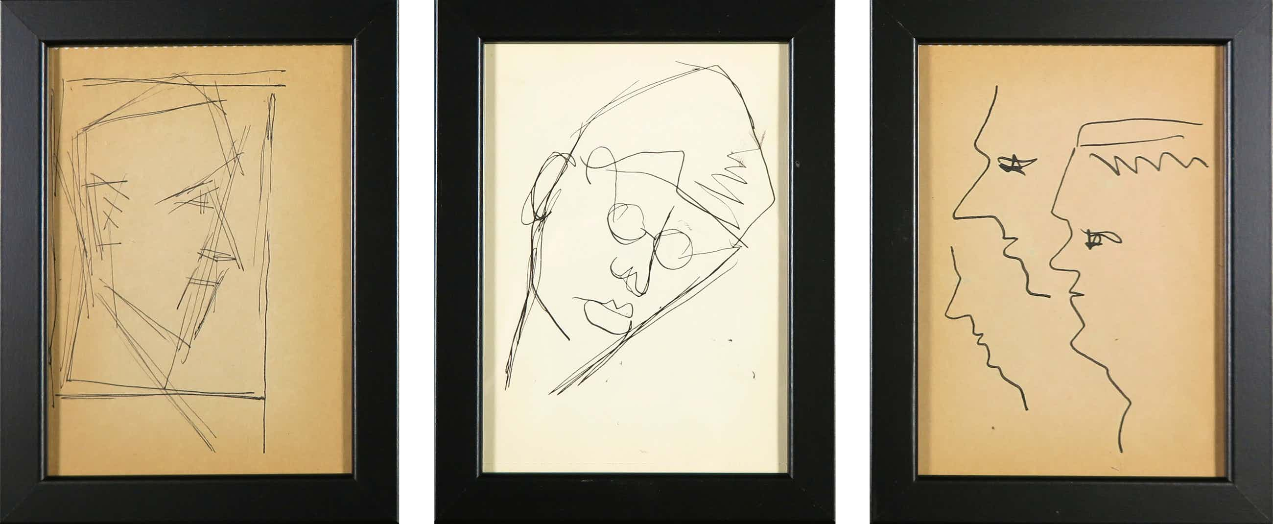 Siep van den Berg - Lot van drie tekeningen, Portretten - Ingelijst kopen? Bied vanaf 40!