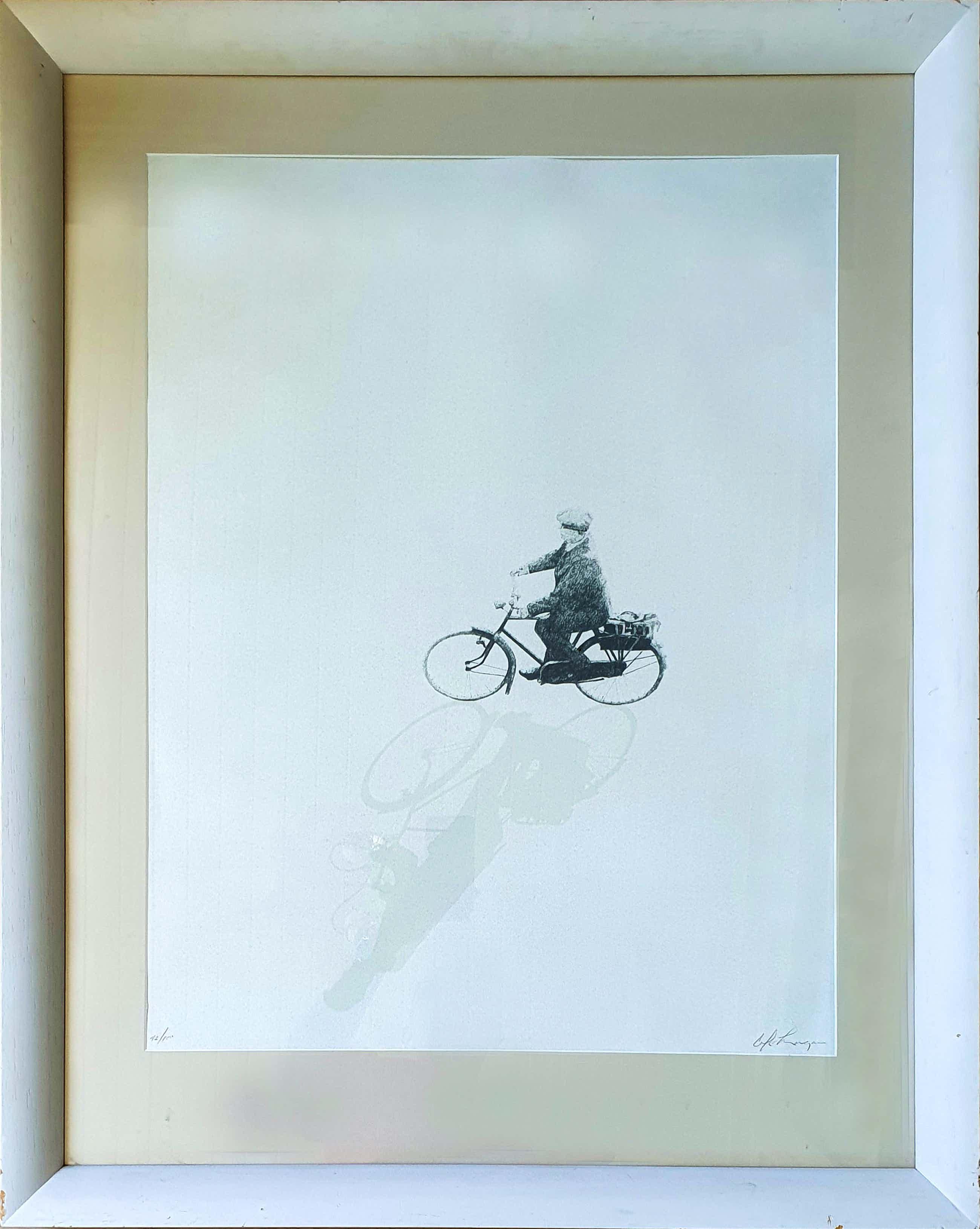 Cole Morgan - Man op fiets - ingelijst kopen? Bied vanaf 155!