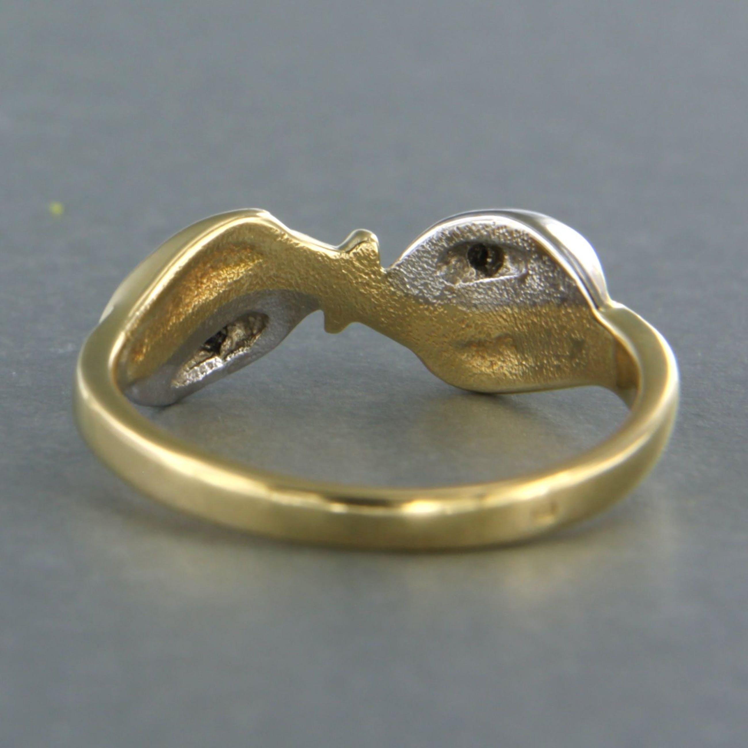 18k bicolor gouden ring bezet met single cut geslepen diamant tot. 0,03ct kopen? Bied vanaf 190!