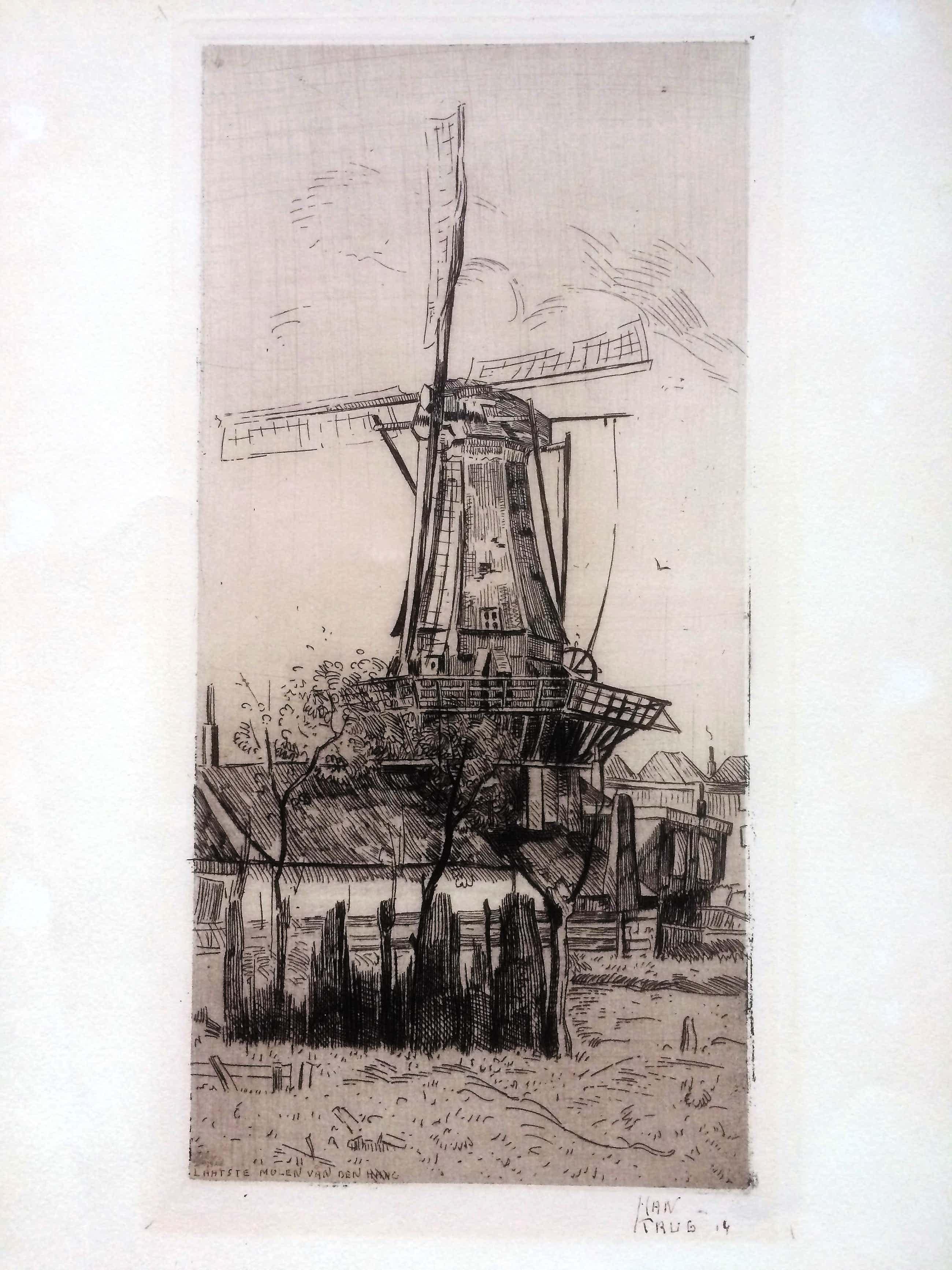 Han Krug - Drie zeldzame etsen: Landschappen, molen en Pierrot kopen? Bied vanaf 40!