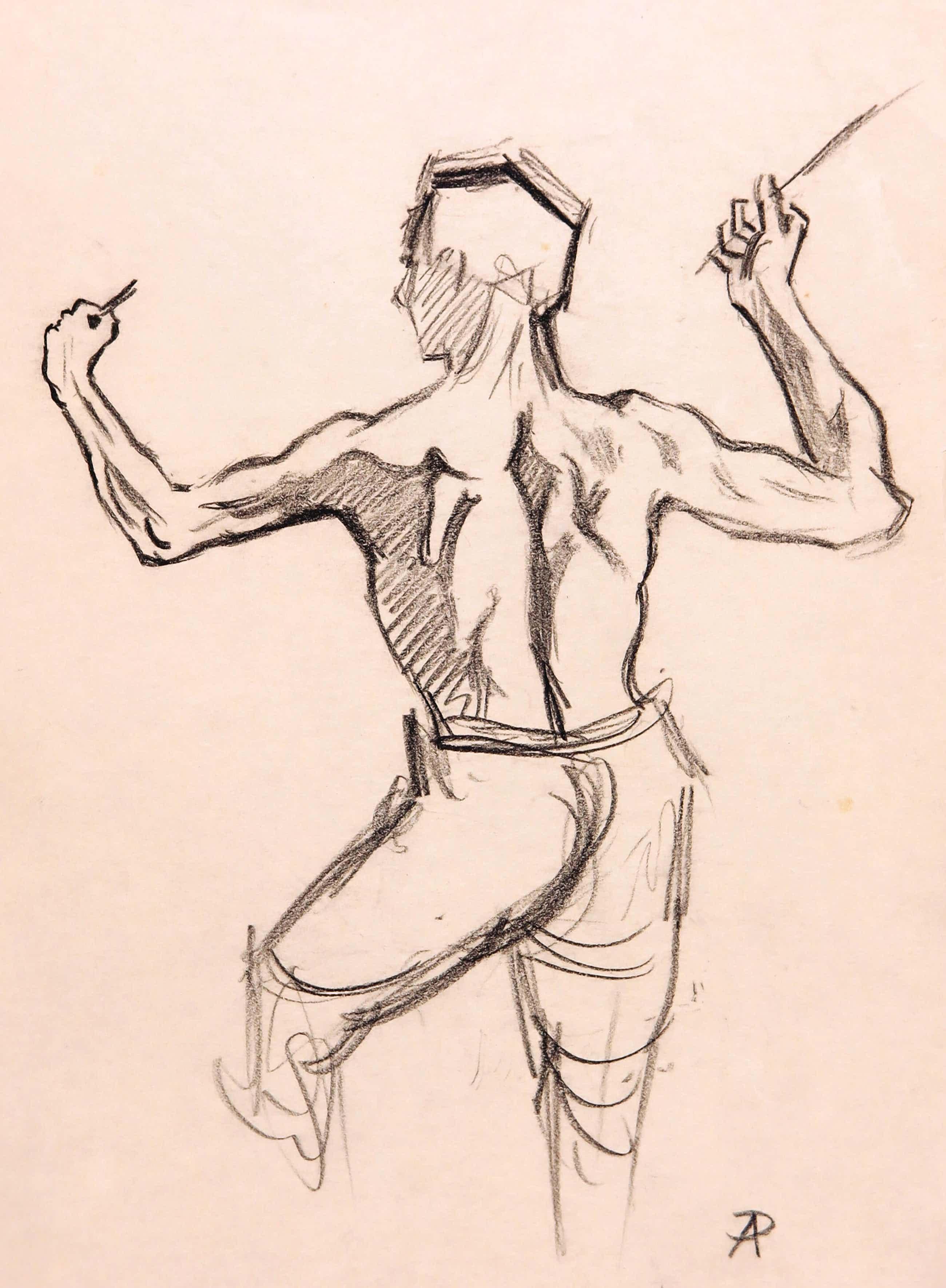 Anton Pieck - Zwart/wit potlood op schetspapier, Man op de rug gezien met ontbloot torso kopen? Bied vanaf 100!