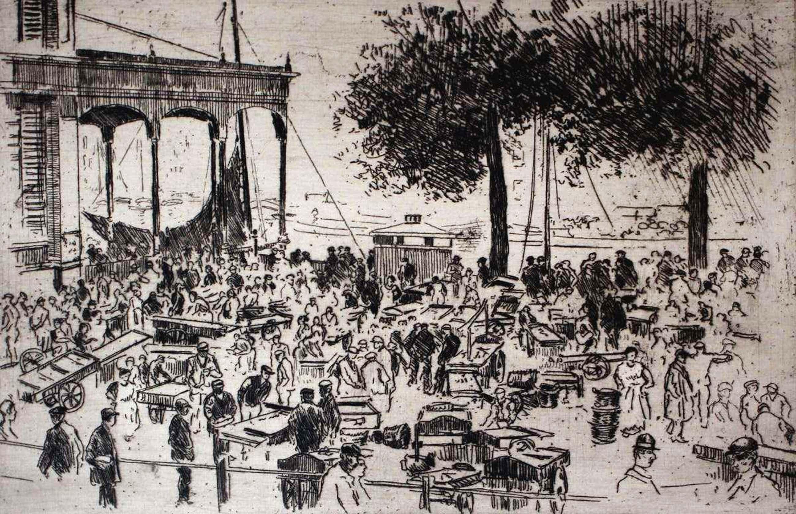 Martin van Waning - ets: Vischmarkt te Rotterdam kopen? Bied vanaf 45!